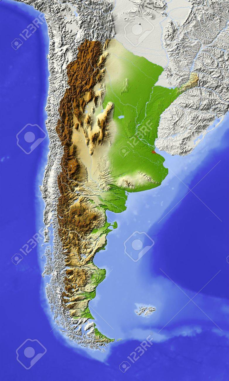 Argentina. Shaded relief map with major urban areas. Surrounding territory greyed out. Colored according to elevation. Includes clip path for the state area.Projection: Lambert Azimuthal Equal-AreaExtents: -88/-56//-51/-17Data source: NASA - 10768884