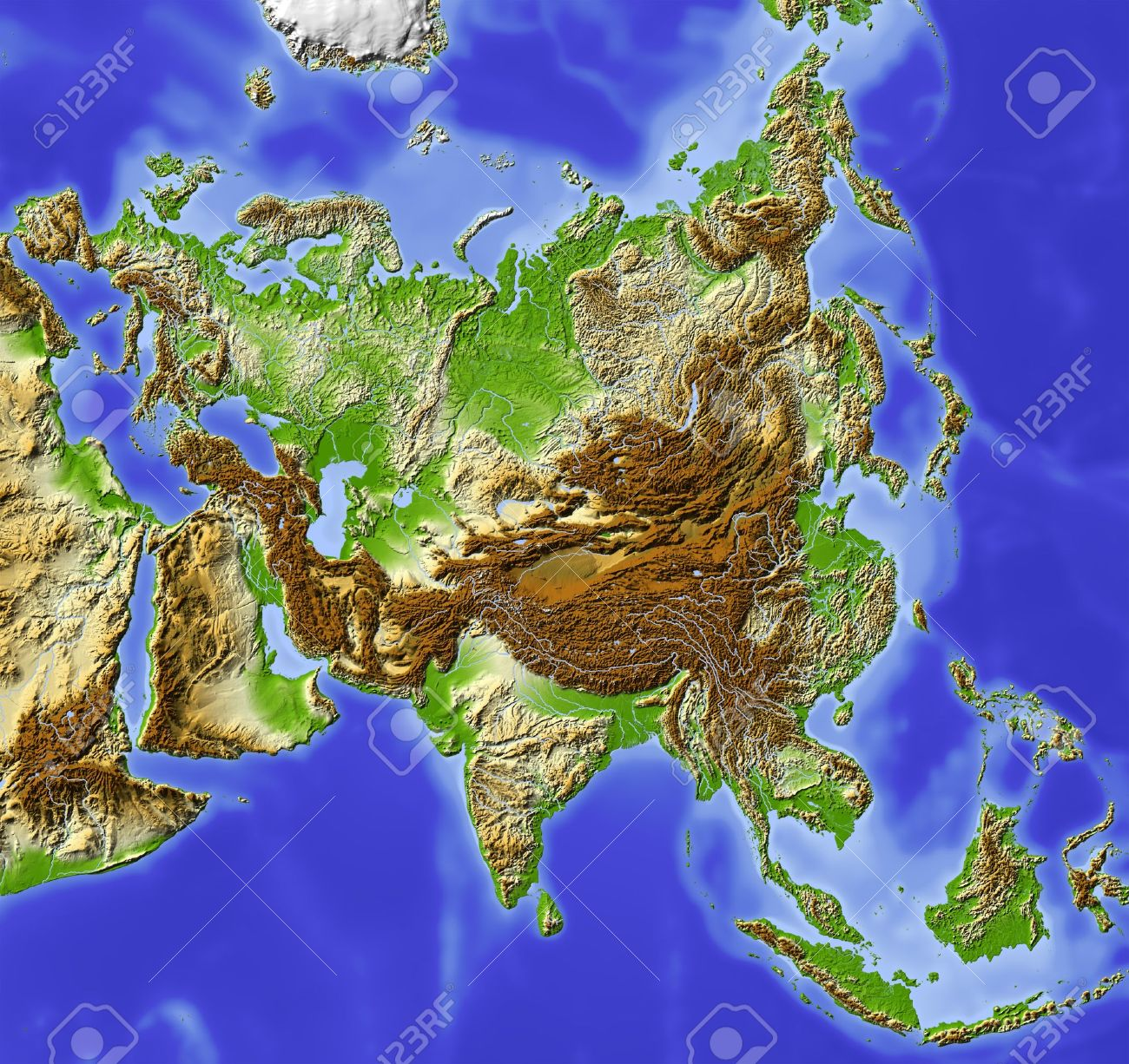 Asia Shaded Relief Map Colored According To Elevation Includes