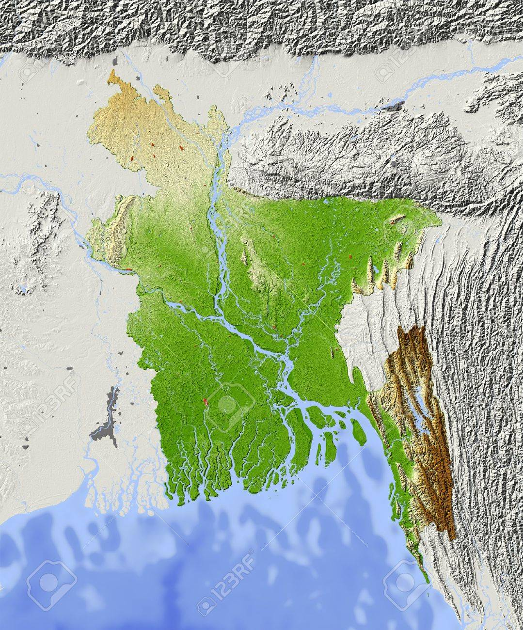 Bangladesh Shaded Relief Map Surrounding Territory Greyed Out