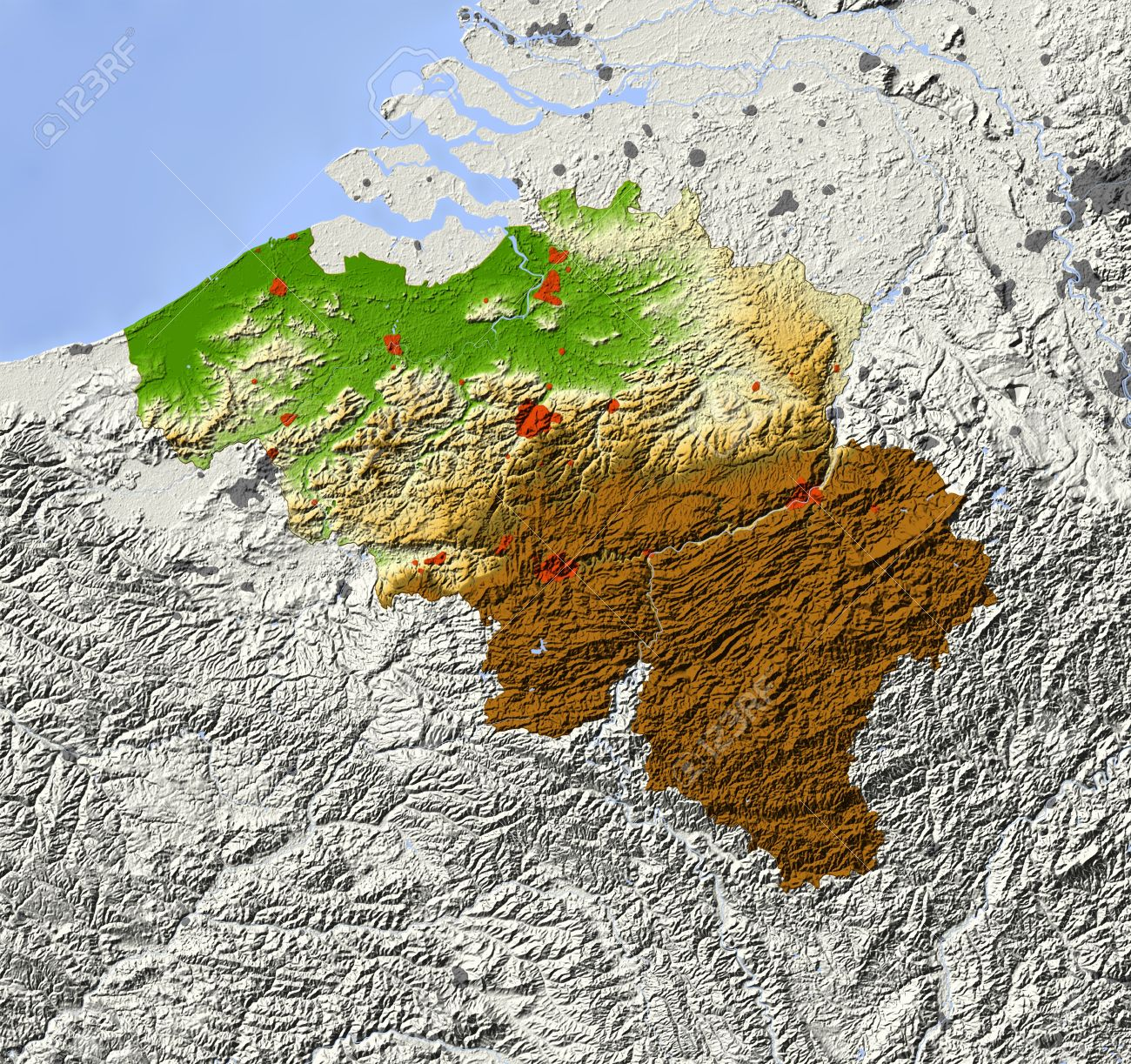 Maps Update 580400 Belgium Topographic Map Download Belgium – Topographic Map of Belgium