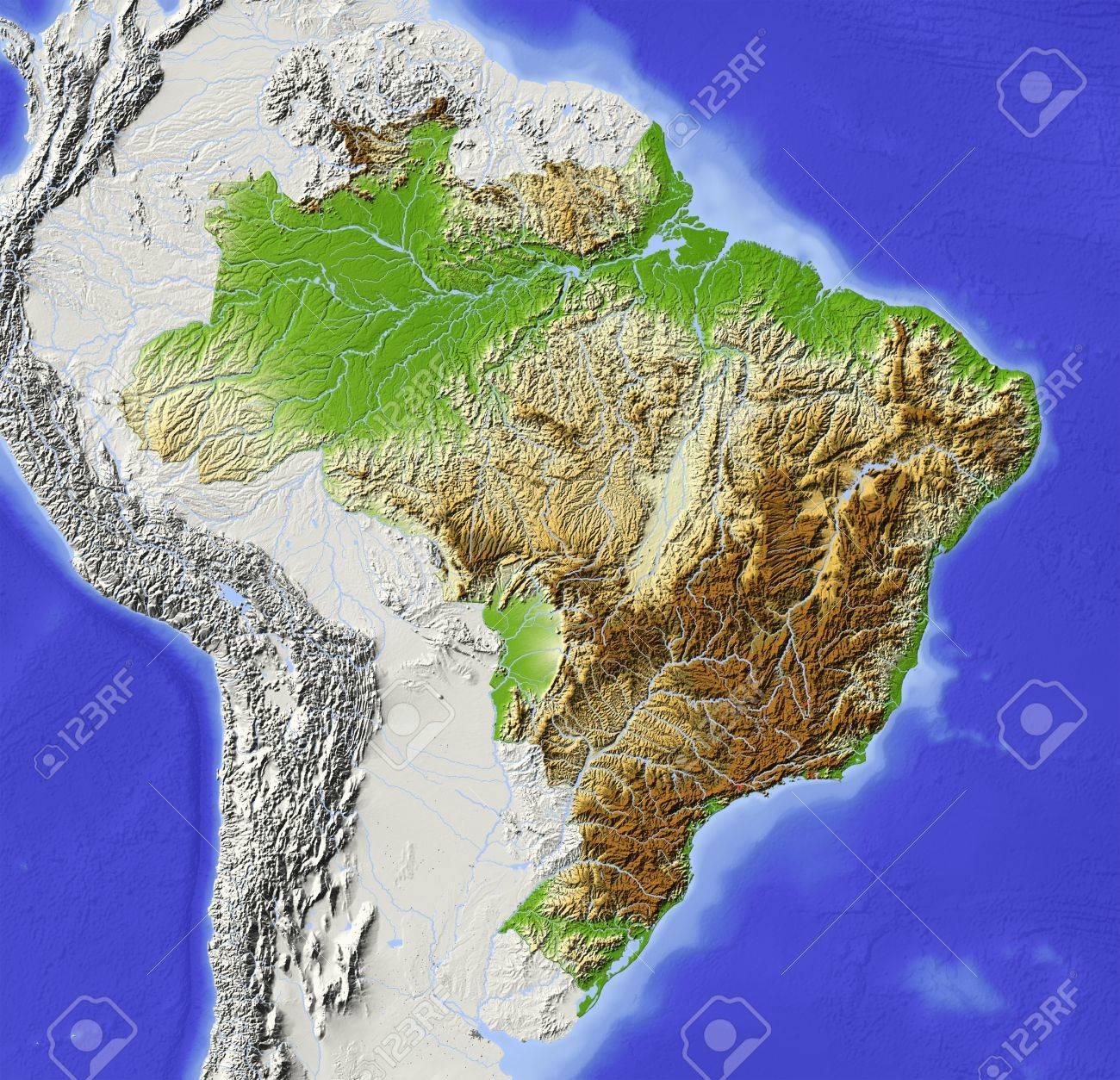 Carte Bresil Relief.Bresil Carte En Relief Ombre Avec Les Grandes Zones Urbaines