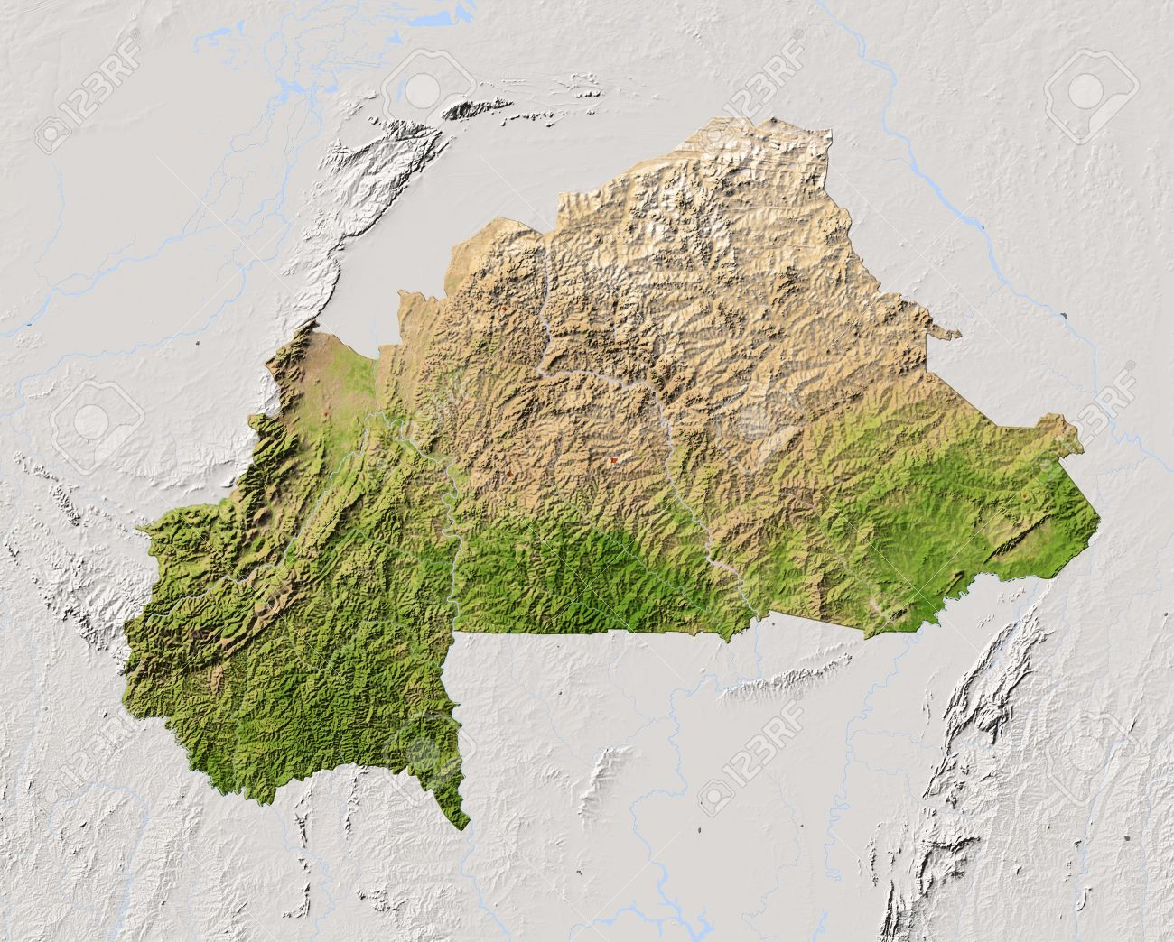 Burkina Faso Shaded Relief Map Surrounding Territory Greyed