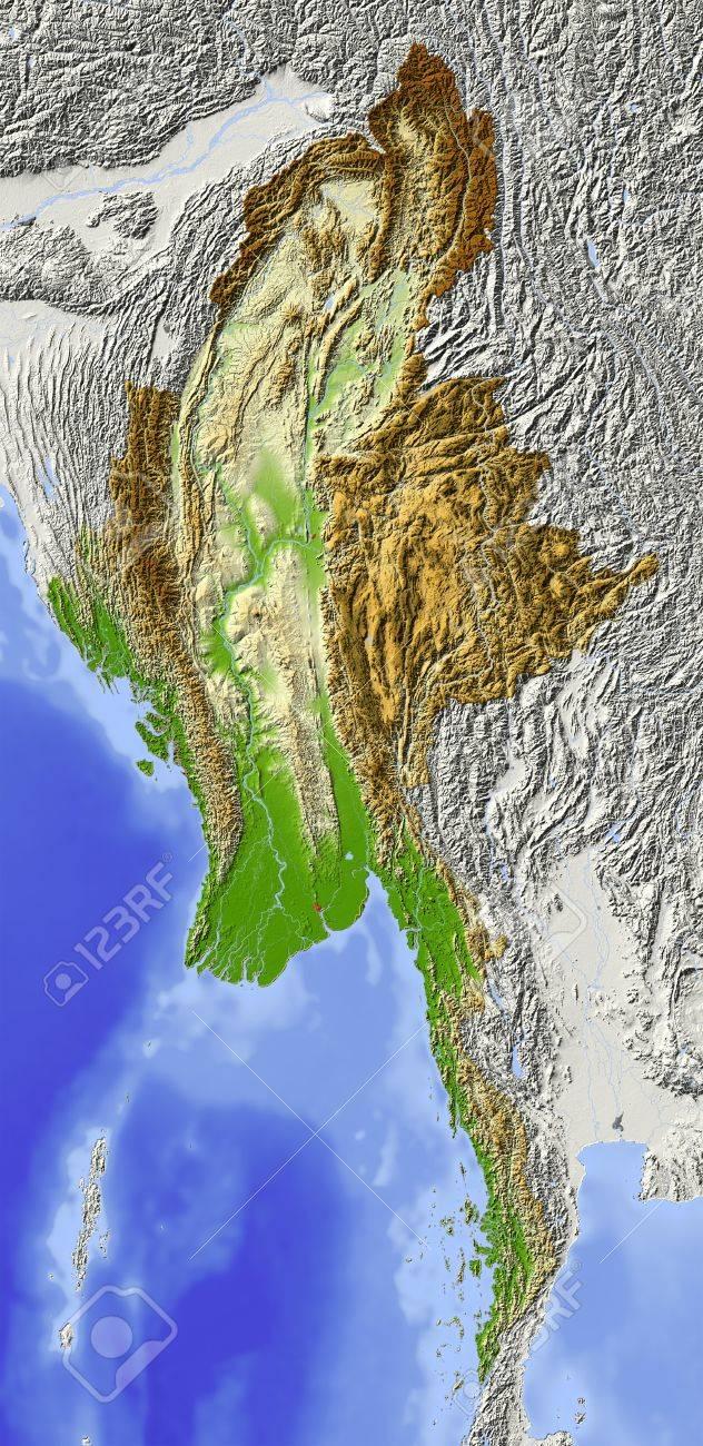 Carte Physique Birmanie.Birmanie Myanmar Carte En Relief Ombre Territoire Environnant Grise Colorie Selon L Altitude Comprend Chemin Clip Pour La Region De L Etat