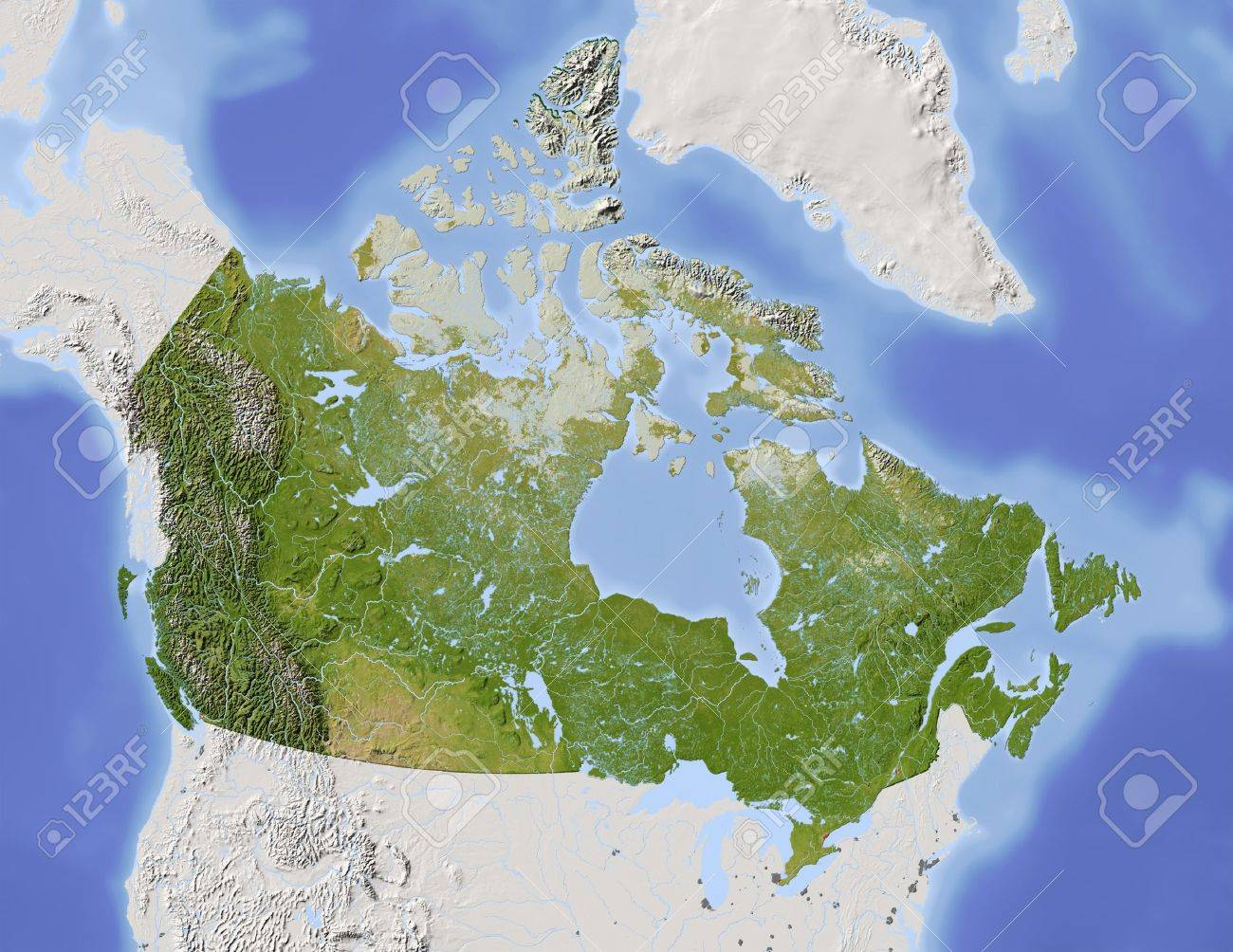 Canada Shaded Relief Map With Major Urban Areas Surrounding - Relief map of canada