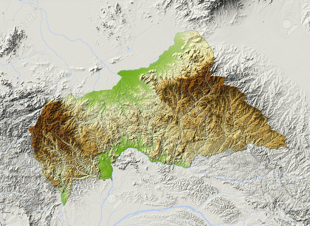 Central African Republic Shaded Relief Map Surrounding Territory - Central african republic map