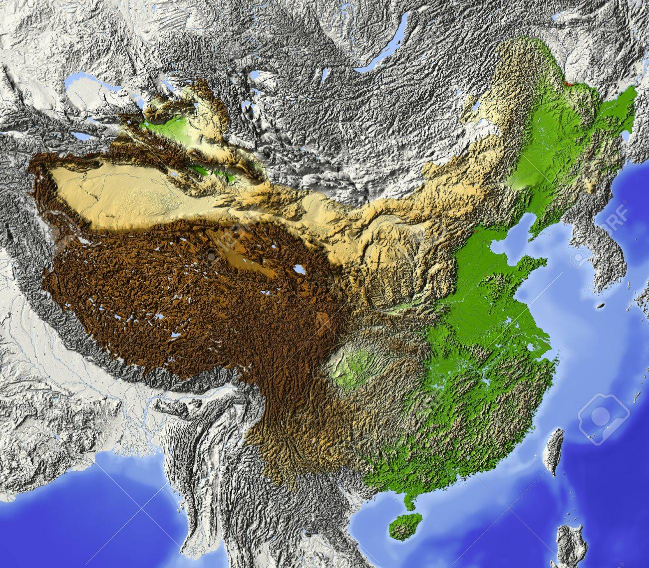 Map Of China And Surrounding Areas.China Shaded Relief Map With Rivers And Major Urban Areas Stock