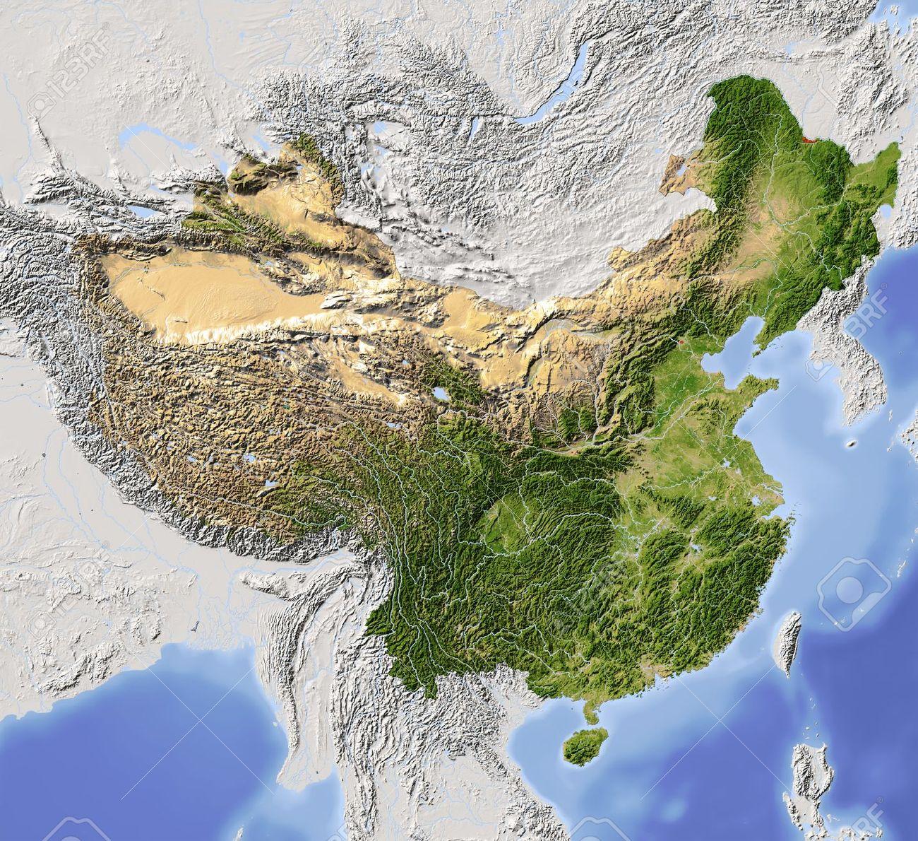 Carte Vegetation Chine.La Chine Carte En Relief Ombre Colorie Selon La Vegetation Avec De Grandes Zones Urbaines Comprend Chemin Clip Pour La Frontiere D Etat