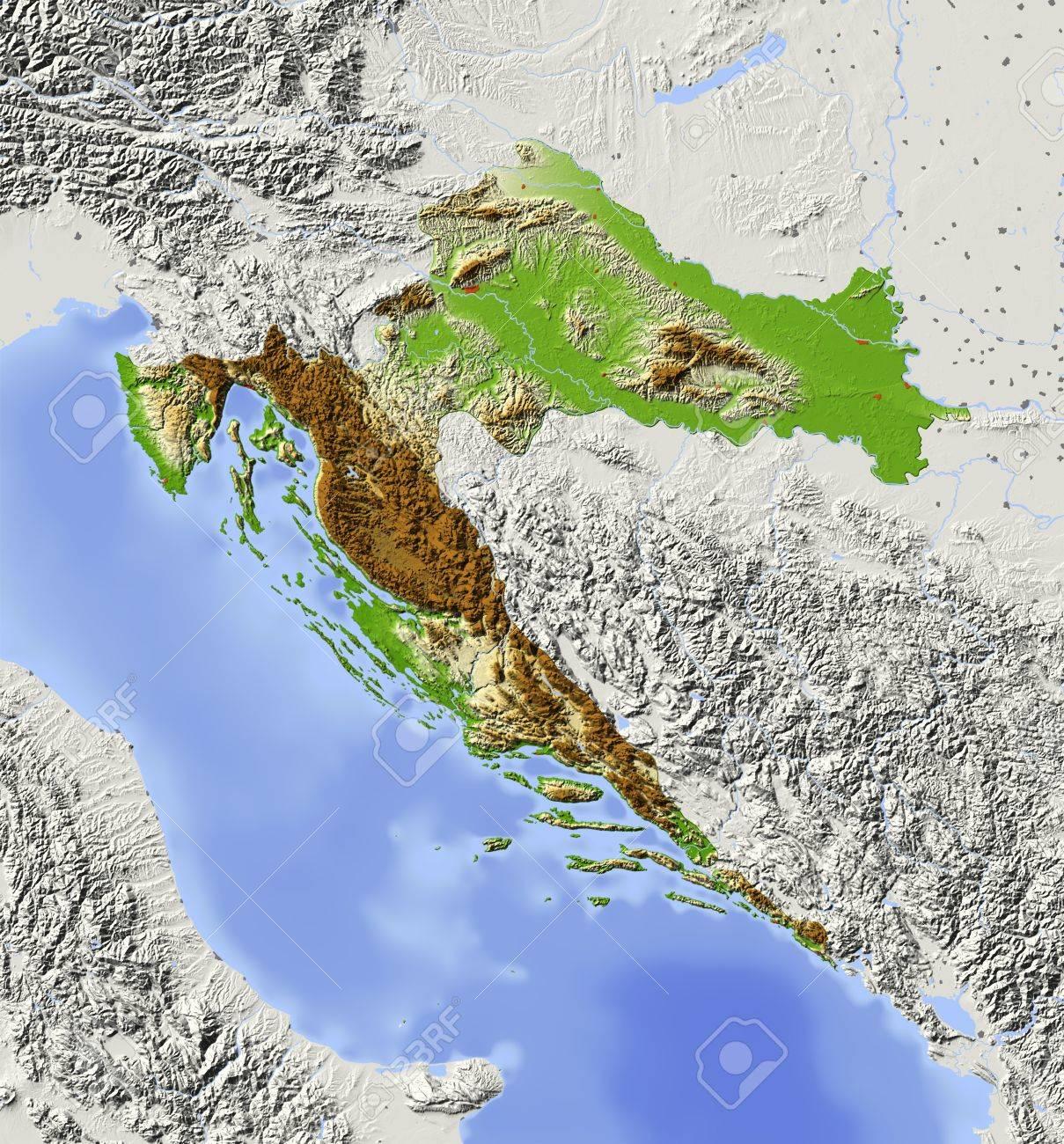 Carte Altitude Croatie.Croatie Carte En Relief Ombre Avec Les Grandes Zones Urbaines Territoire Environnant Grise Colorie Selon L Altitude Comprend Chemin Clip Pour La