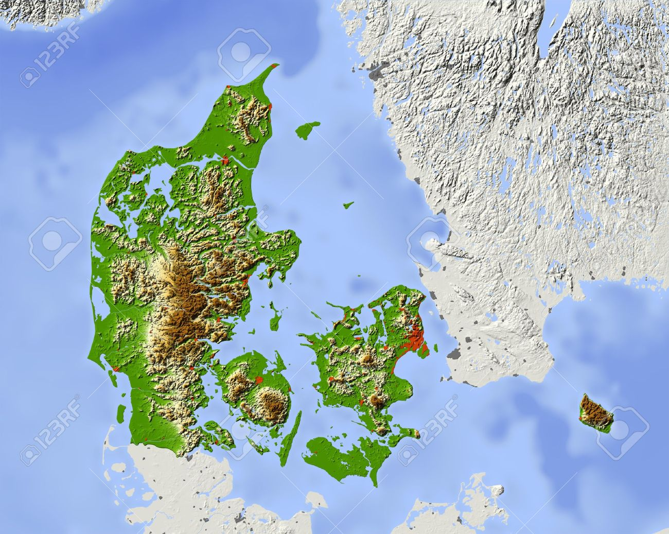 Denmark Shaded Relief Map Surrounding Territory Greyed Out - Norway elevation map