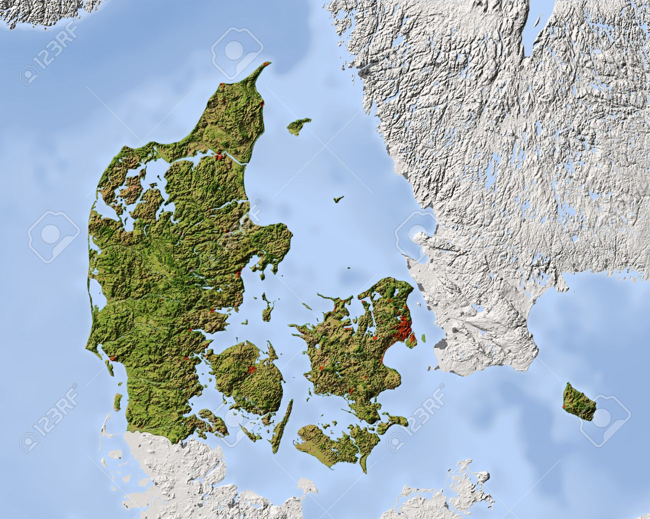 Denmark Topographic Map.Denmark Shaded Relief Map Surrounding Territory Greyed Out