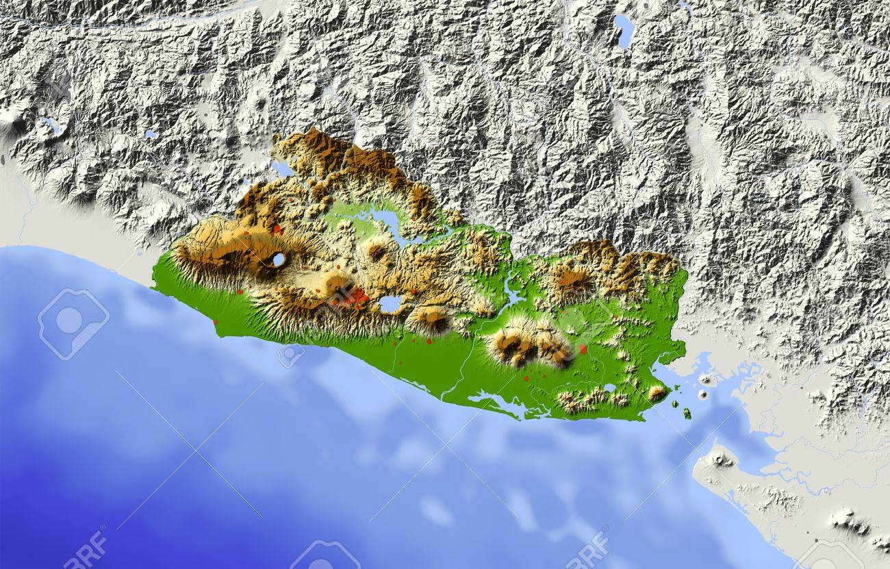 El Salvador Shaded Relief Map Surrounding Territory Greyed - El salvador earth map