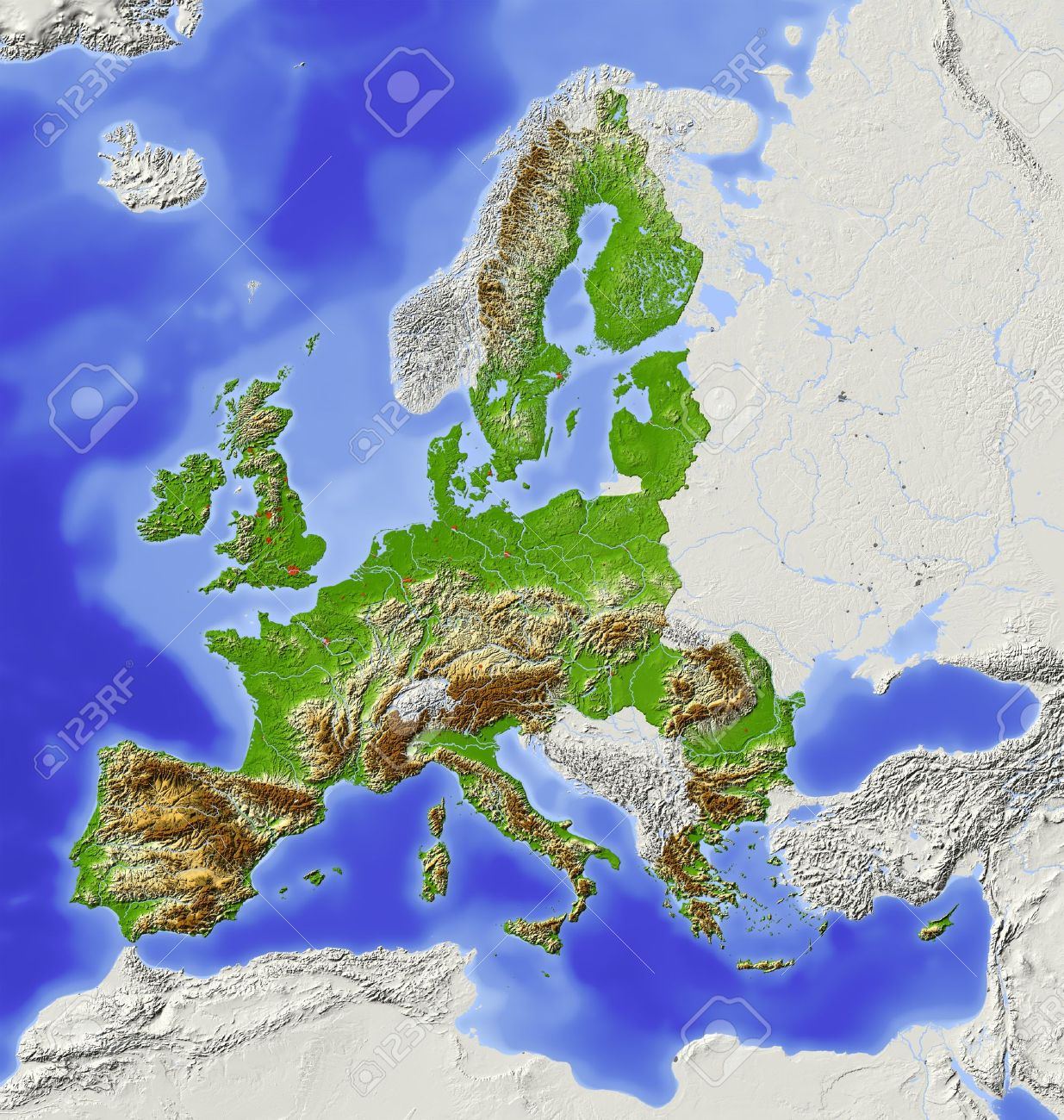 European Union Shaded Relief Map With Major Urban Areas Territory
