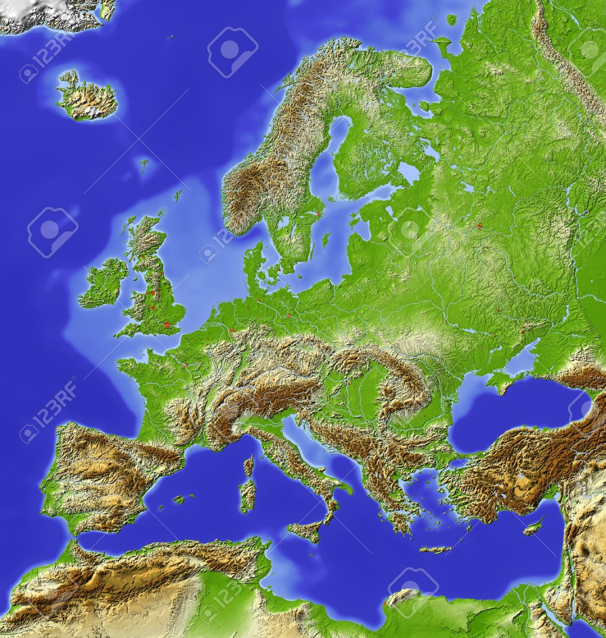 Europe. Shaded Relief Map With Major Urban Areas. Colored
