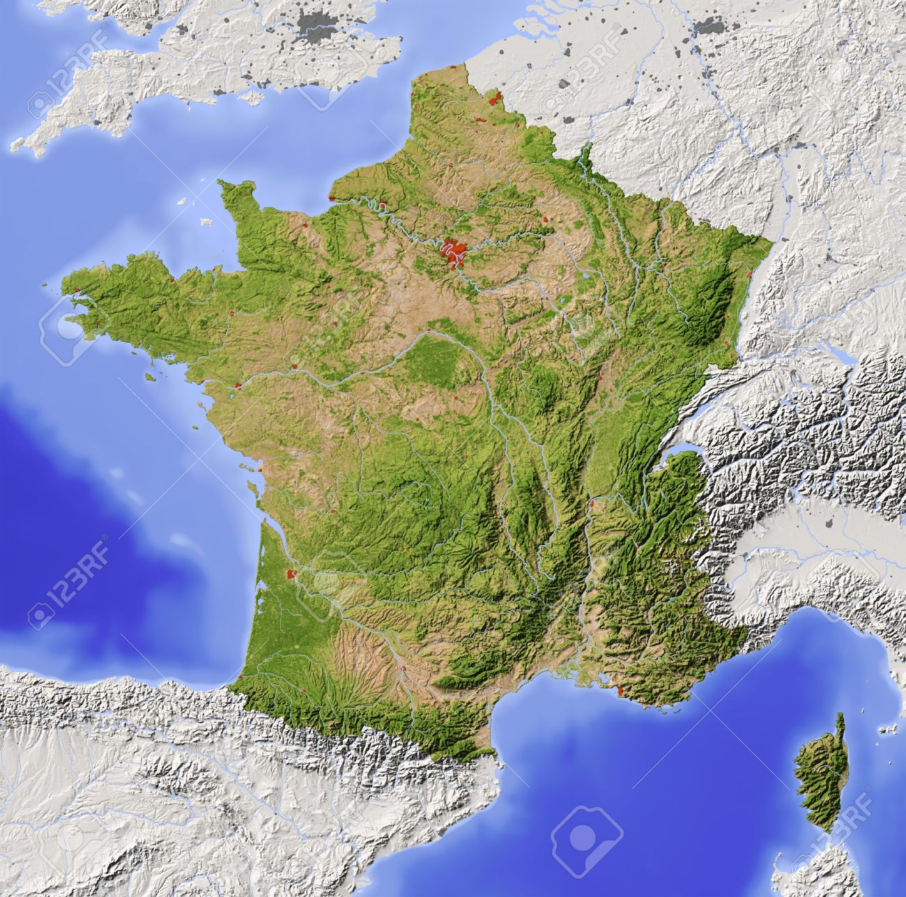 France Shaded Relief Map With Major Urban Areas Surrounding
