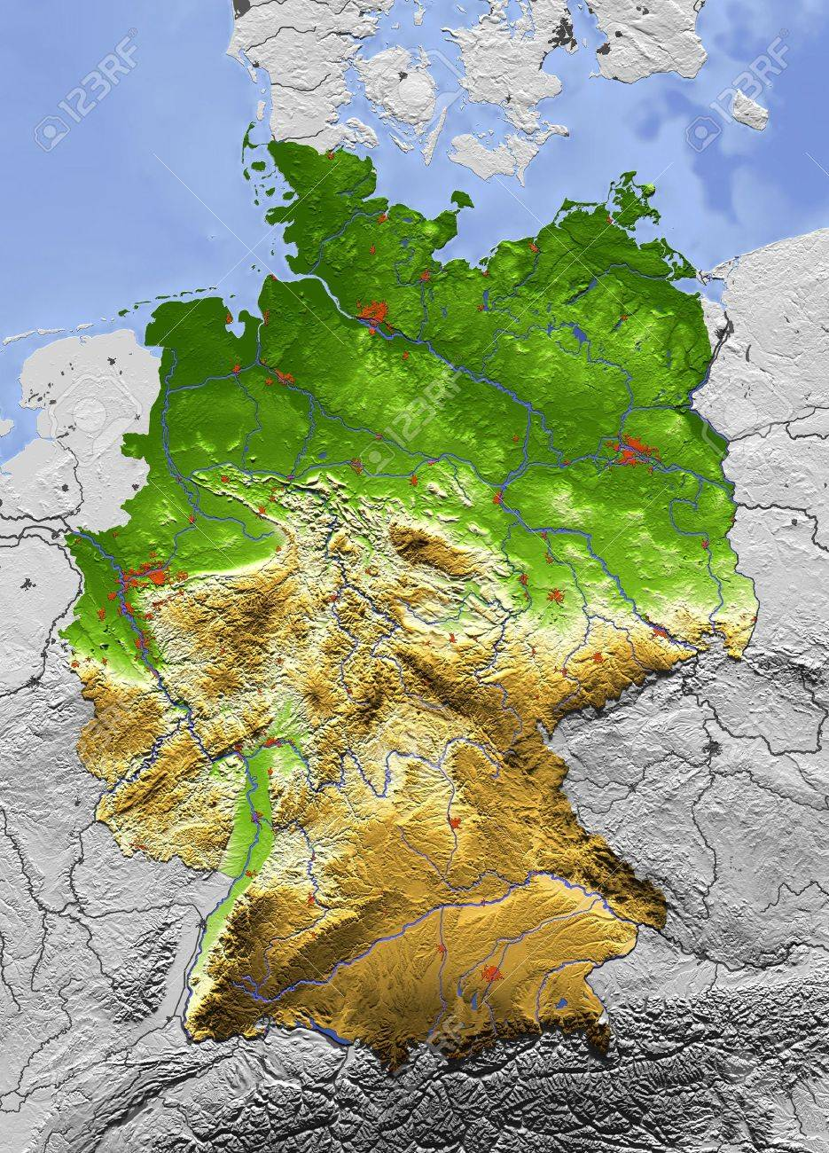 3D Relief Map Of Germany, Seen From Above. Shows Major Cities ...