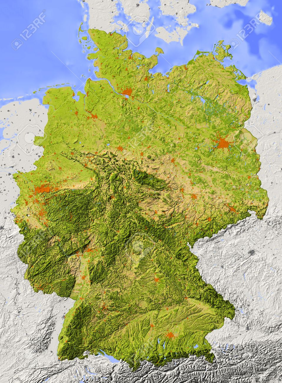 Elevation Map Of Germany.Germany Shaded Relief Map Surrounding Territory Greyed Out