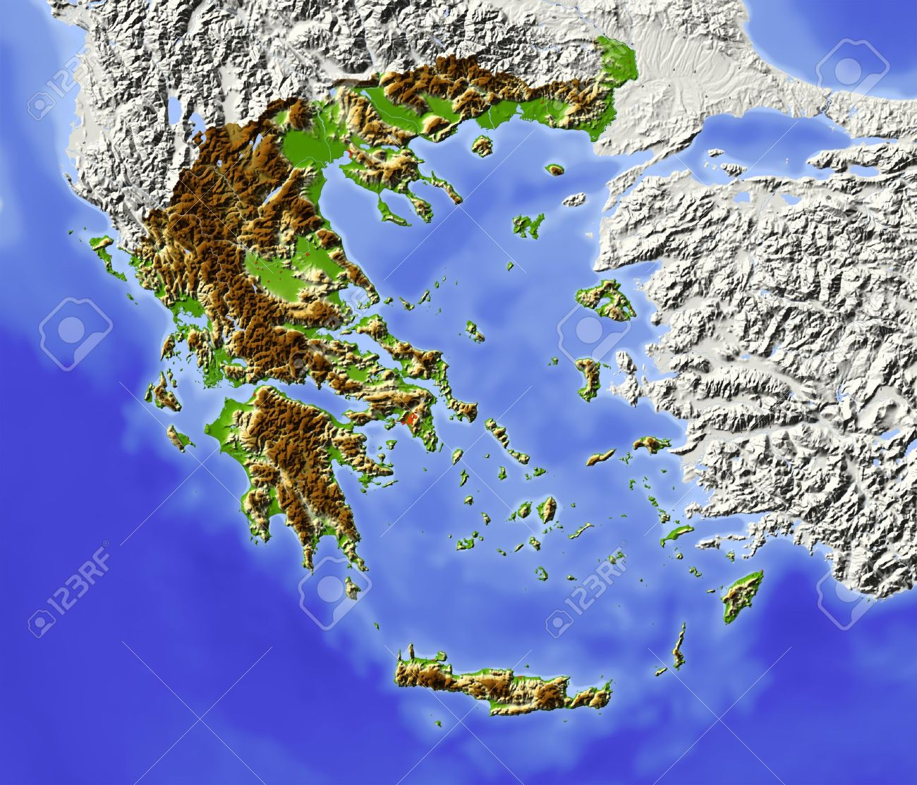 Greece Shaded Relief Map With Major Urban Areas Surrounding
