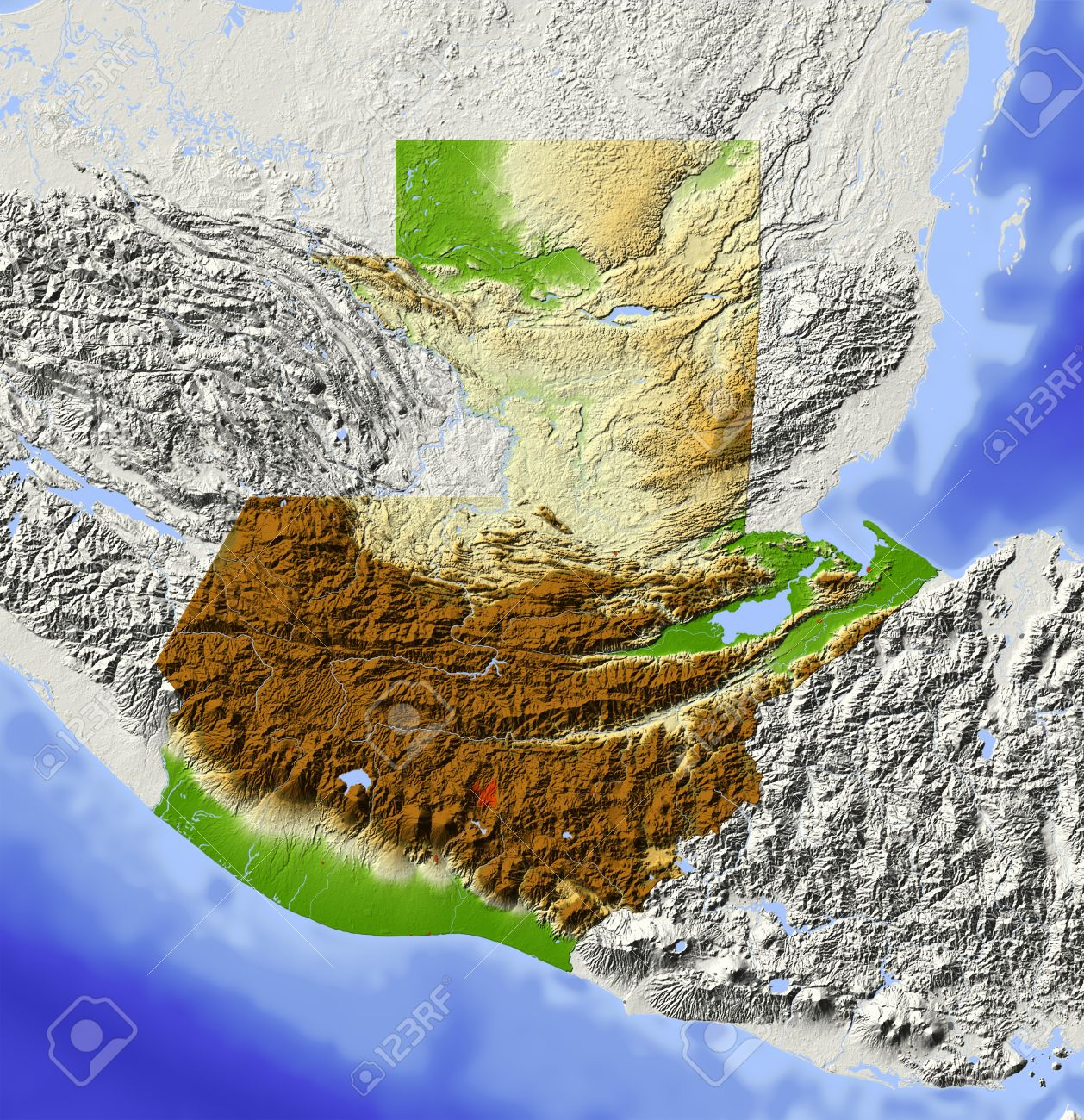 Guatemala. Shaded relief map. Surrounding territory greyed out. Colored according to elevation. Includes clip path for the state area.Projection: MercatorExtents: -93/-87.5/13/18.5Data source: NASA - 10816970