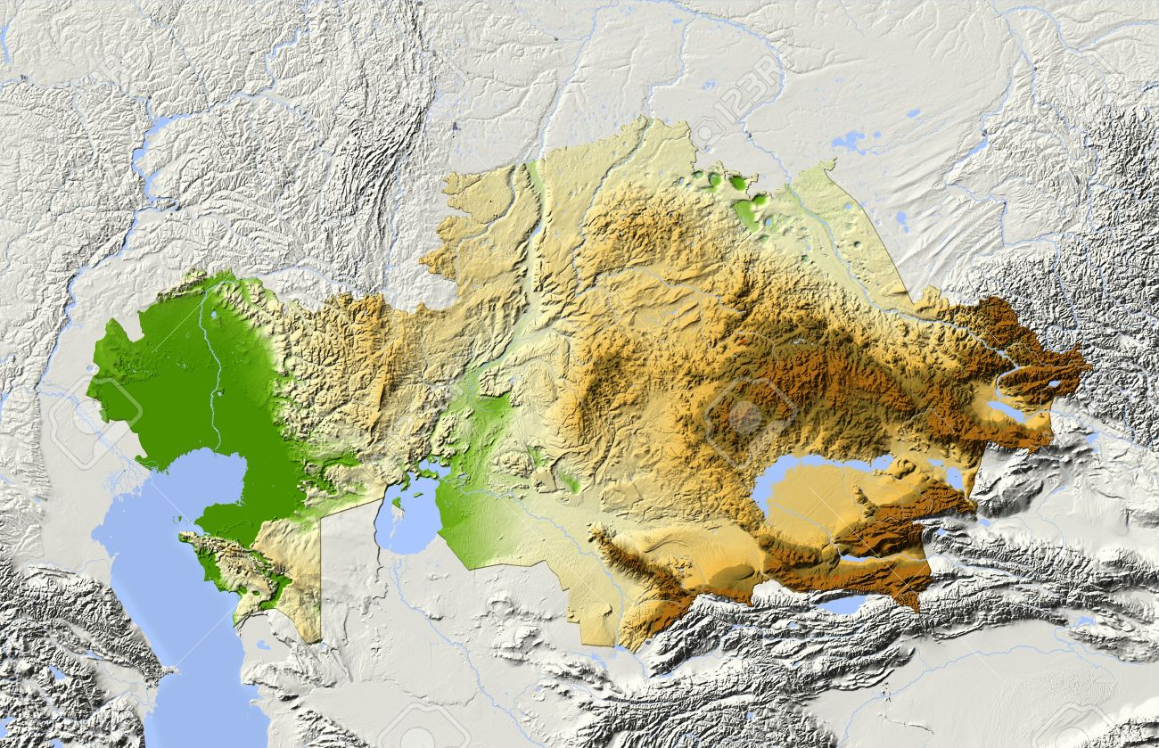 Kazakhstan Shaded Relief Map Stock Photo Picture And Royalty