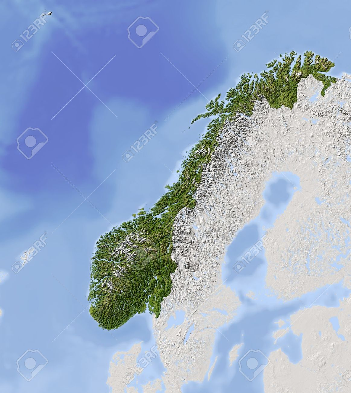 Norway Shaded Relief Map Stock Photo Picture And Royalty Free - Norway topographic map