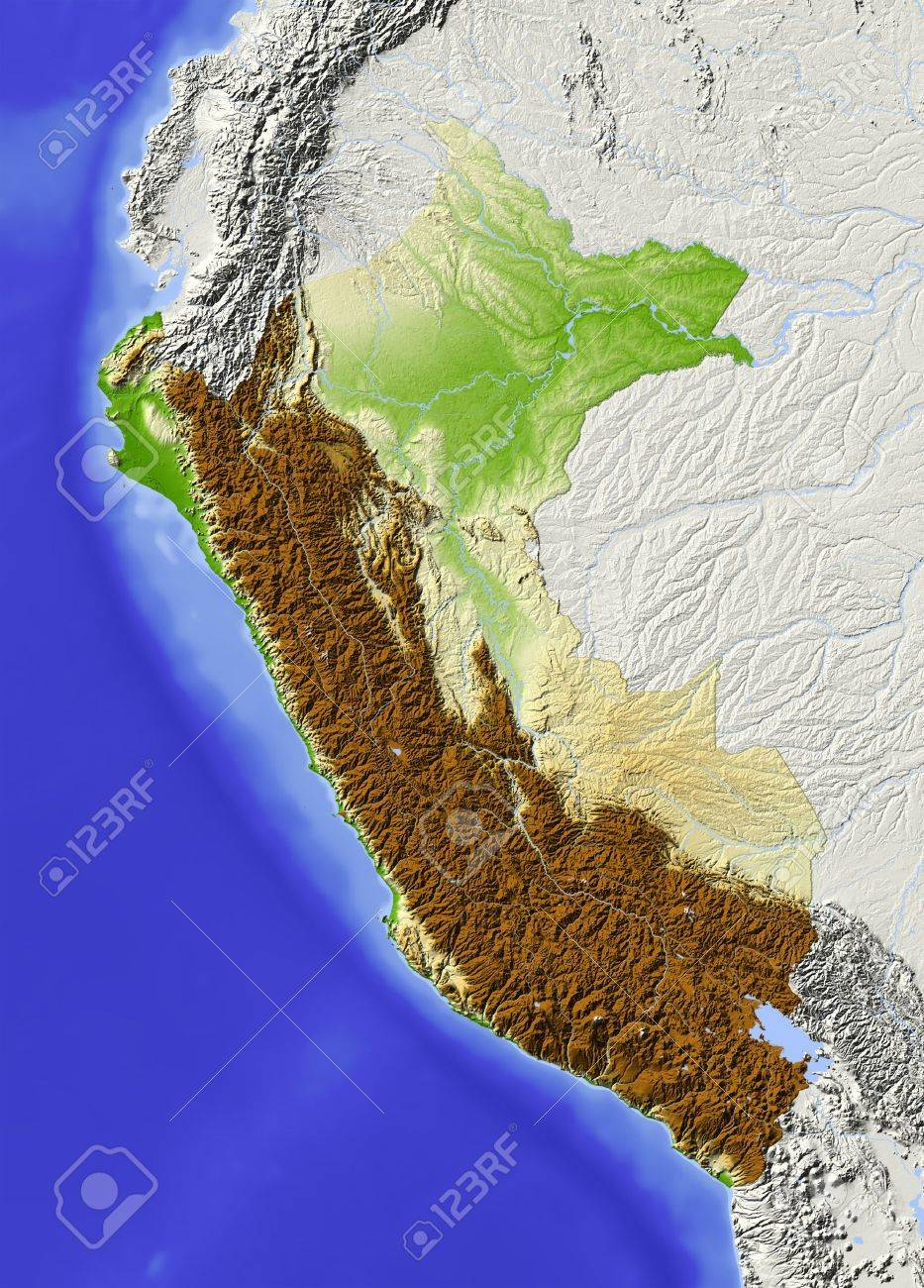 Peru Shaded Relief Map Surrounding Territory Greyed Out Colored