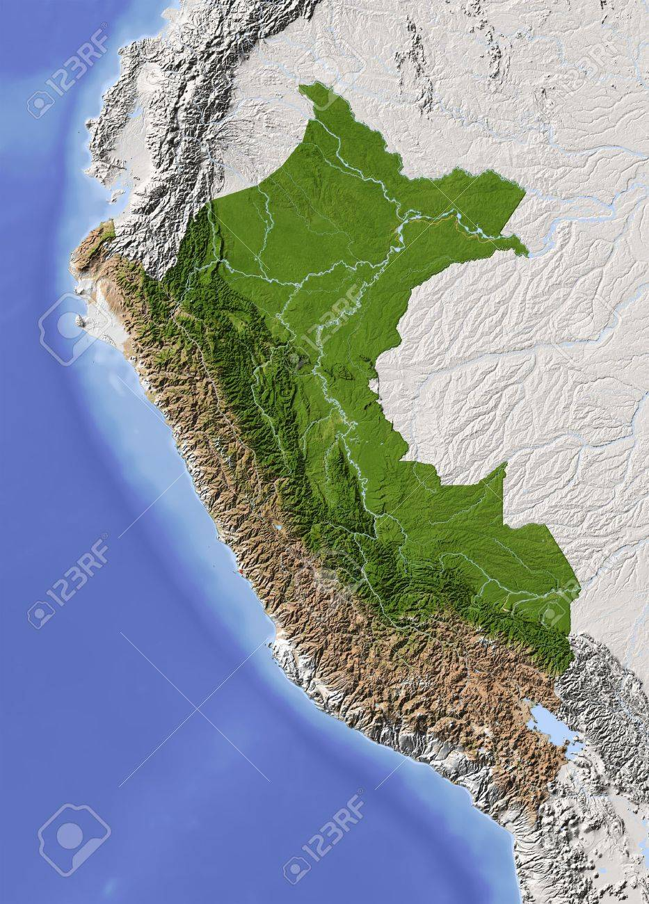 Peru. Shaded relief map. Surrounding territory greyed out. Colored according to vegetation. Includes clip path for the state area.Projection: MercatorExtents: -83/-67/-20/2Data source: NASA - 10962397