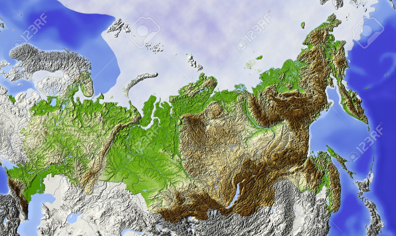 Russia Shaded Relief Map Of Russian Federation With Rivers