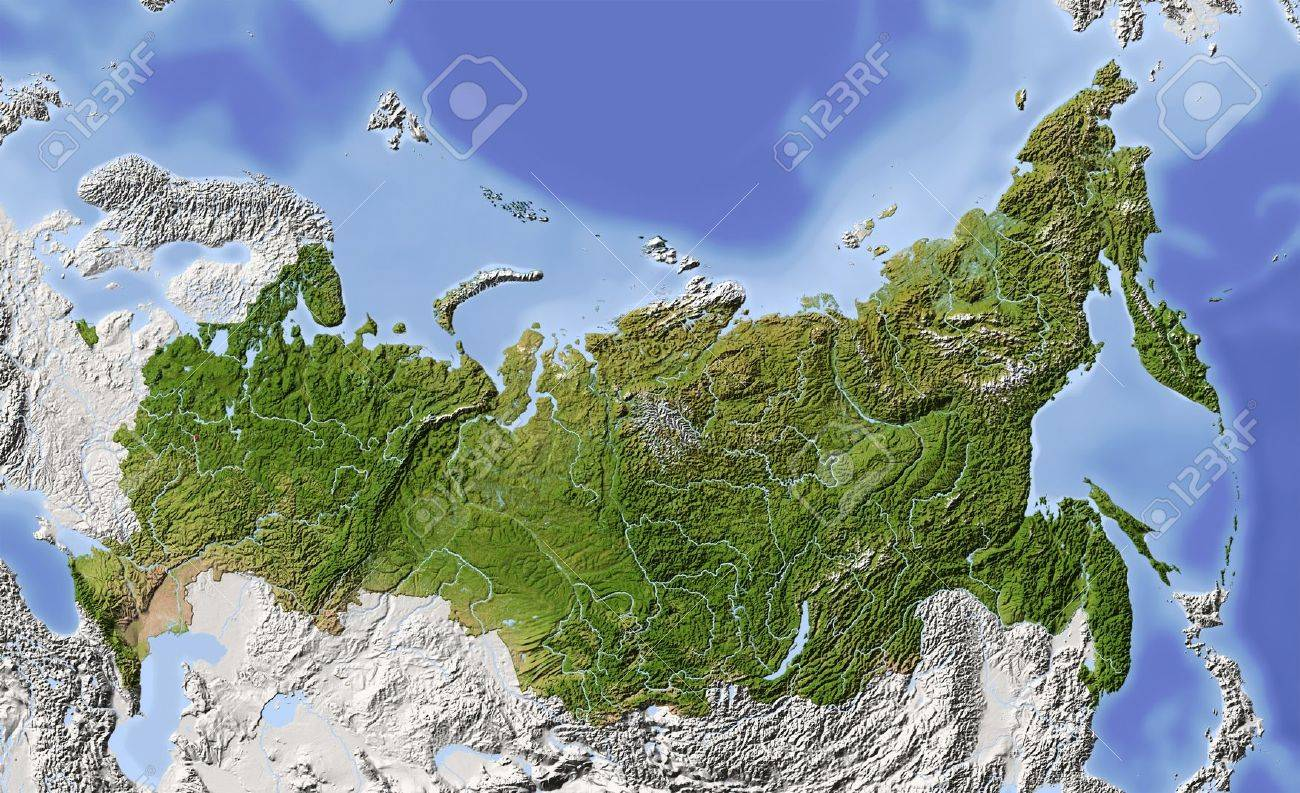 Image of: Russia Shaded Relief Map Of Russian Federation With Rivers Stock Photo Picture And Royalty Free Image Image 10962392