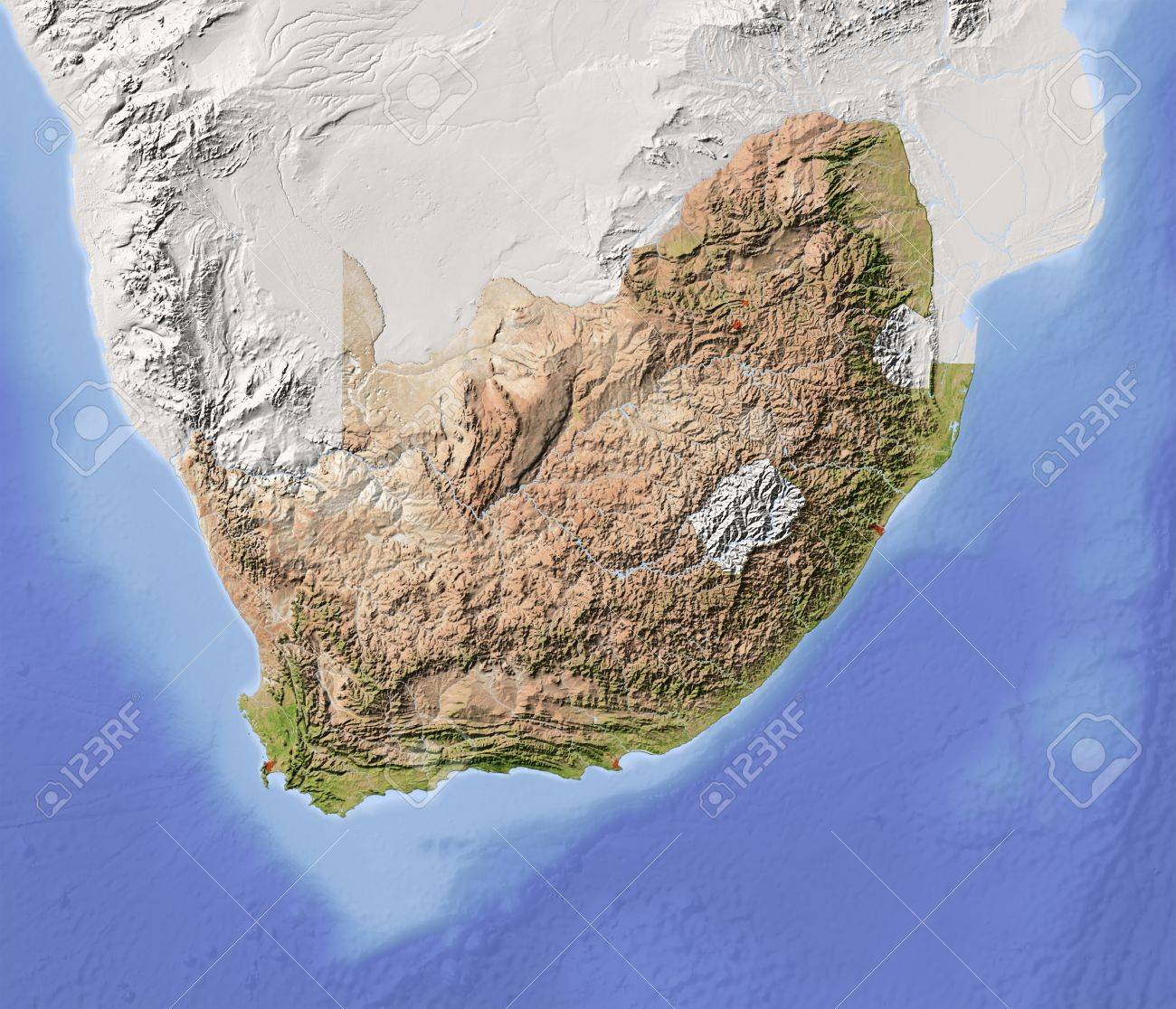 Relief Map Of Southern Africa.South Africa Shaded Relief Map With Major Urban Areas Surrounding