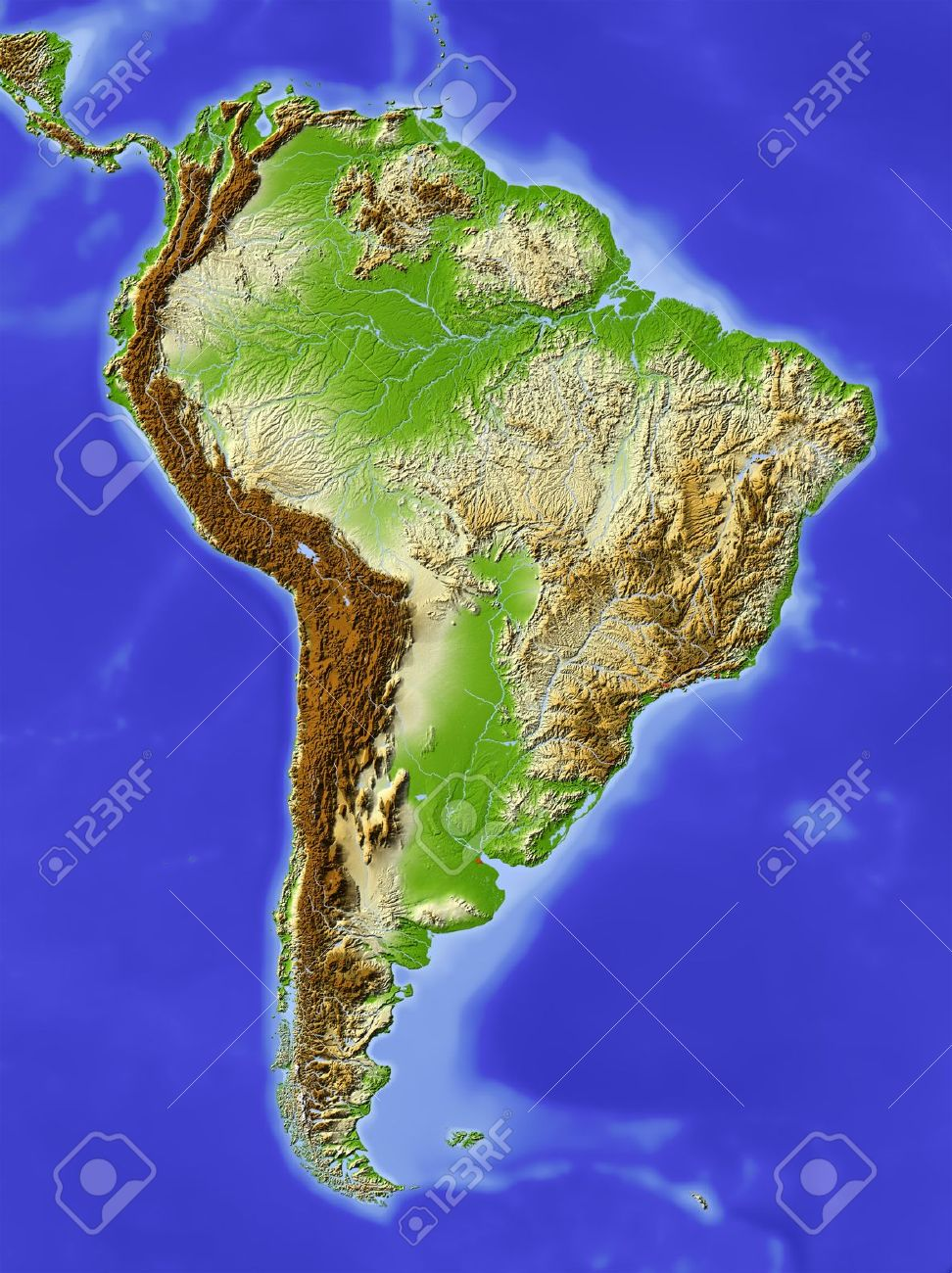 South America Shaded Relief Map Colored According To Elevation - South america relief map peru