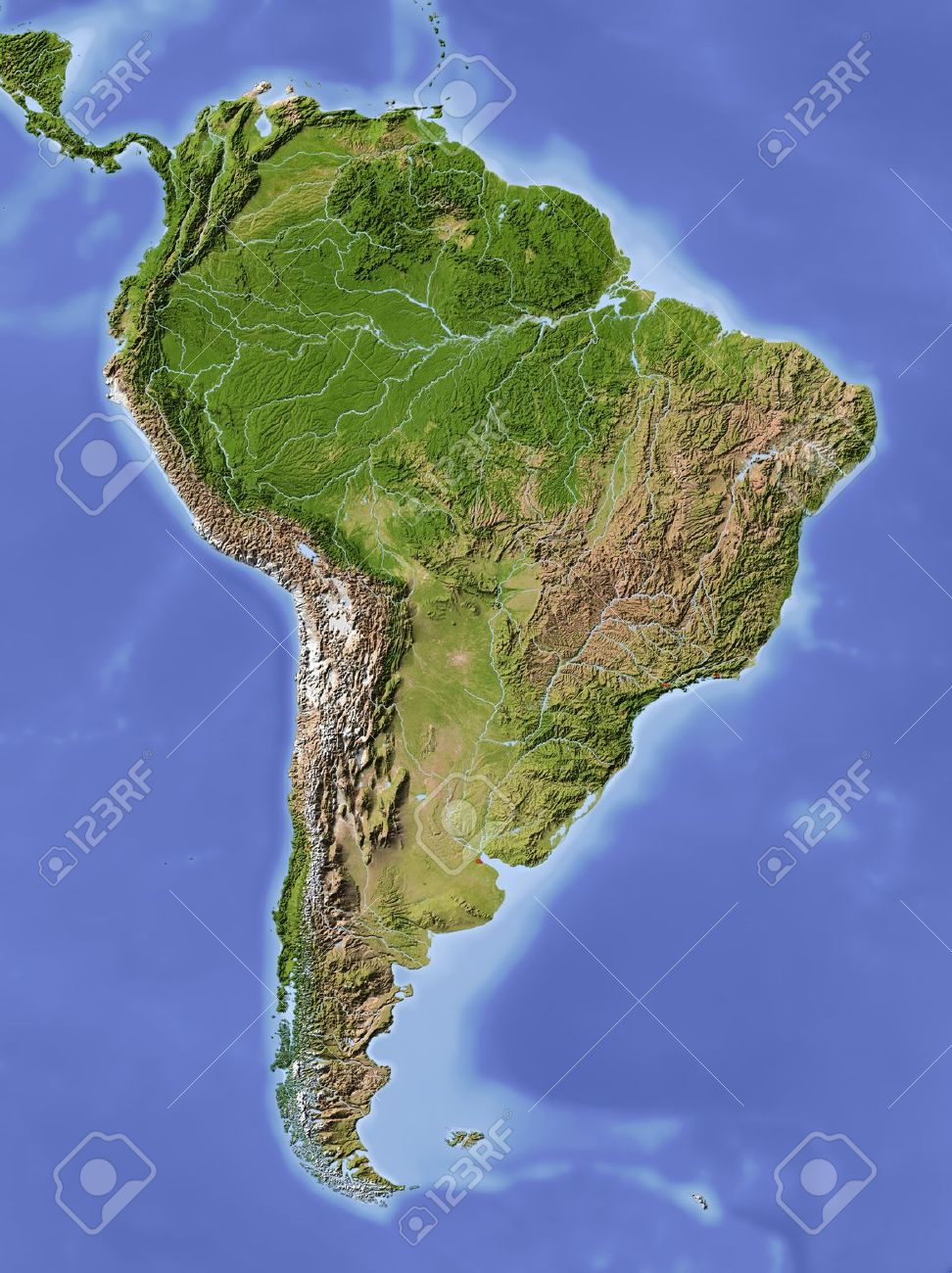 South America Shaded Relief Map Colored According To Vegetation - South america relief map peru