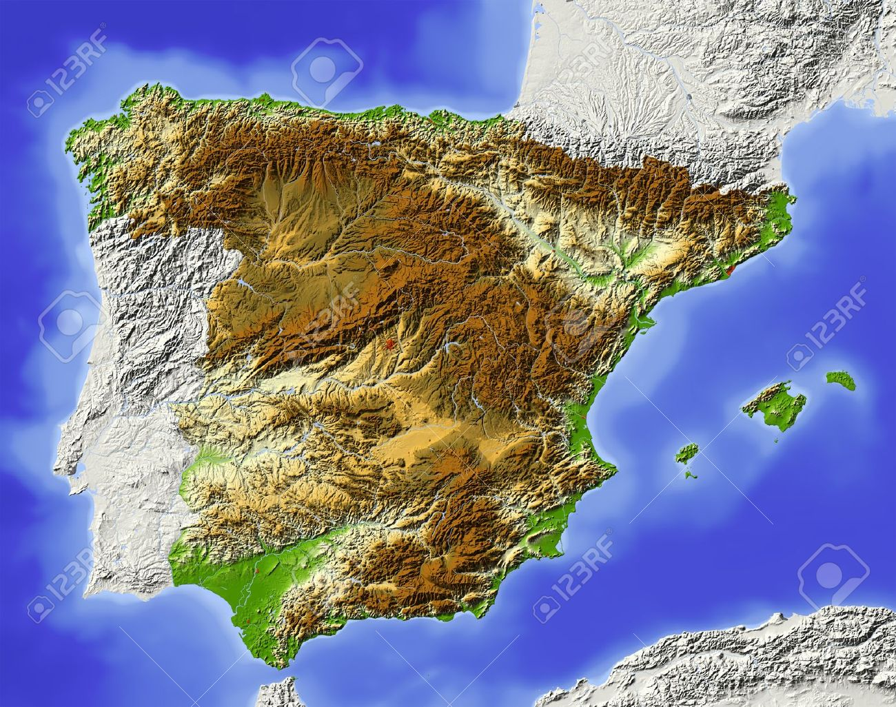 Elevation Map Of Spain.Spain Shaded Relief Map Surrounding Territory Greyed Out Colored
