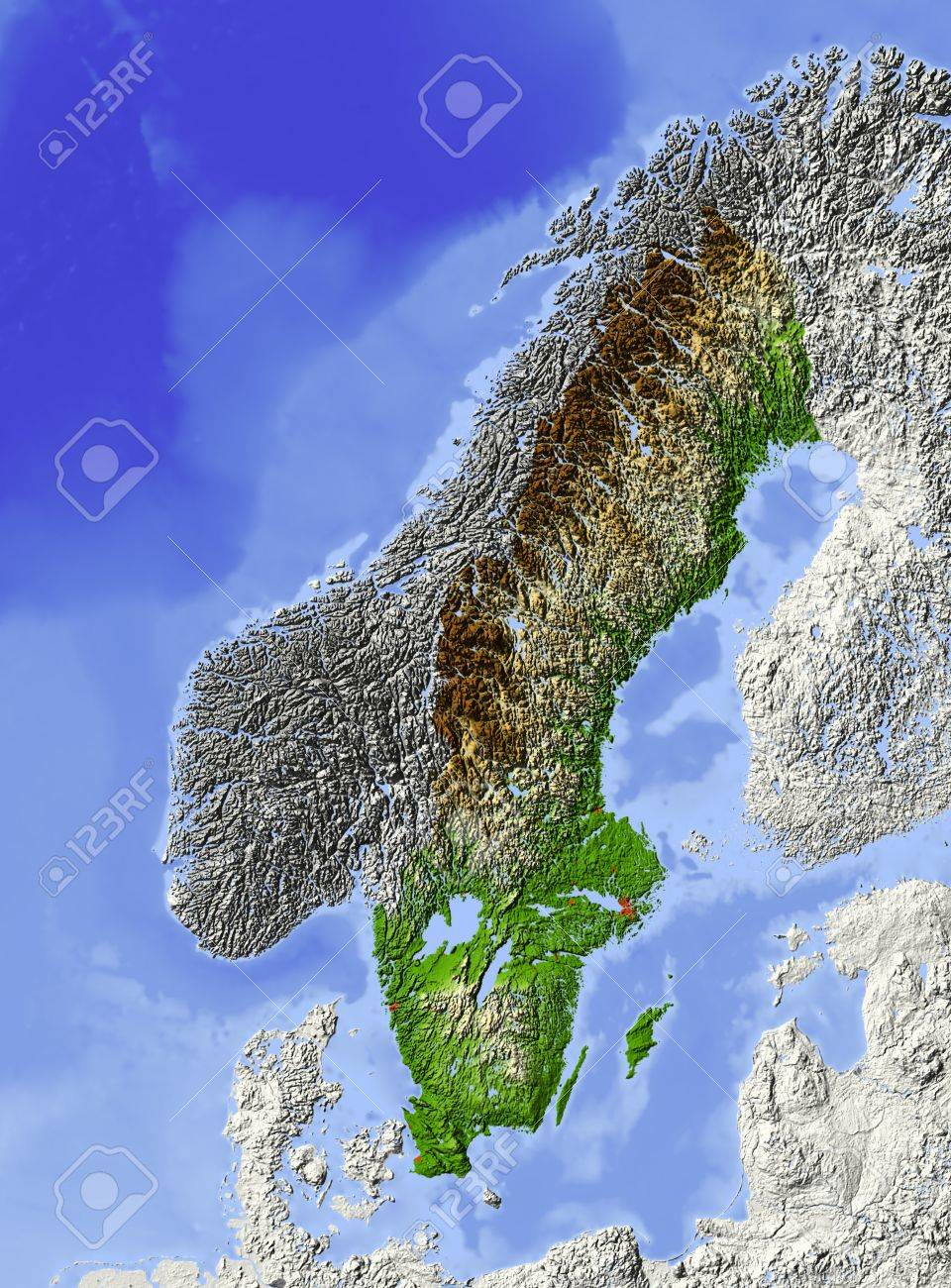 Sweden Shaded Relief Map With Major Urban Areas Surrounding - Sweden vegetation map