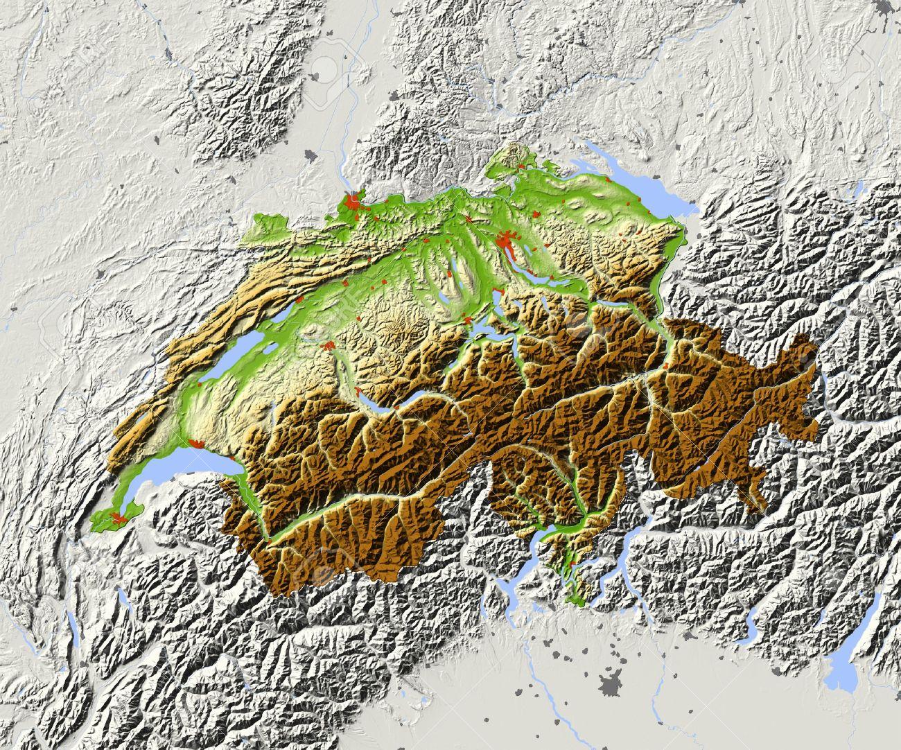 Switzerland Shaded Relief Map Surrounding Territory Greyed Stock