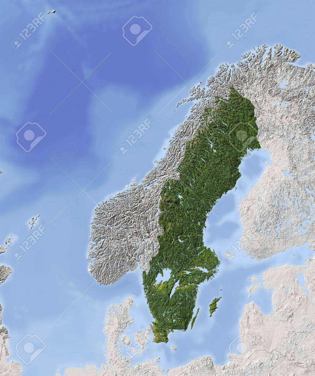 Sweden Shaded Relief Map Surrounding Territory Greyed Out - Sweden vegetation map
