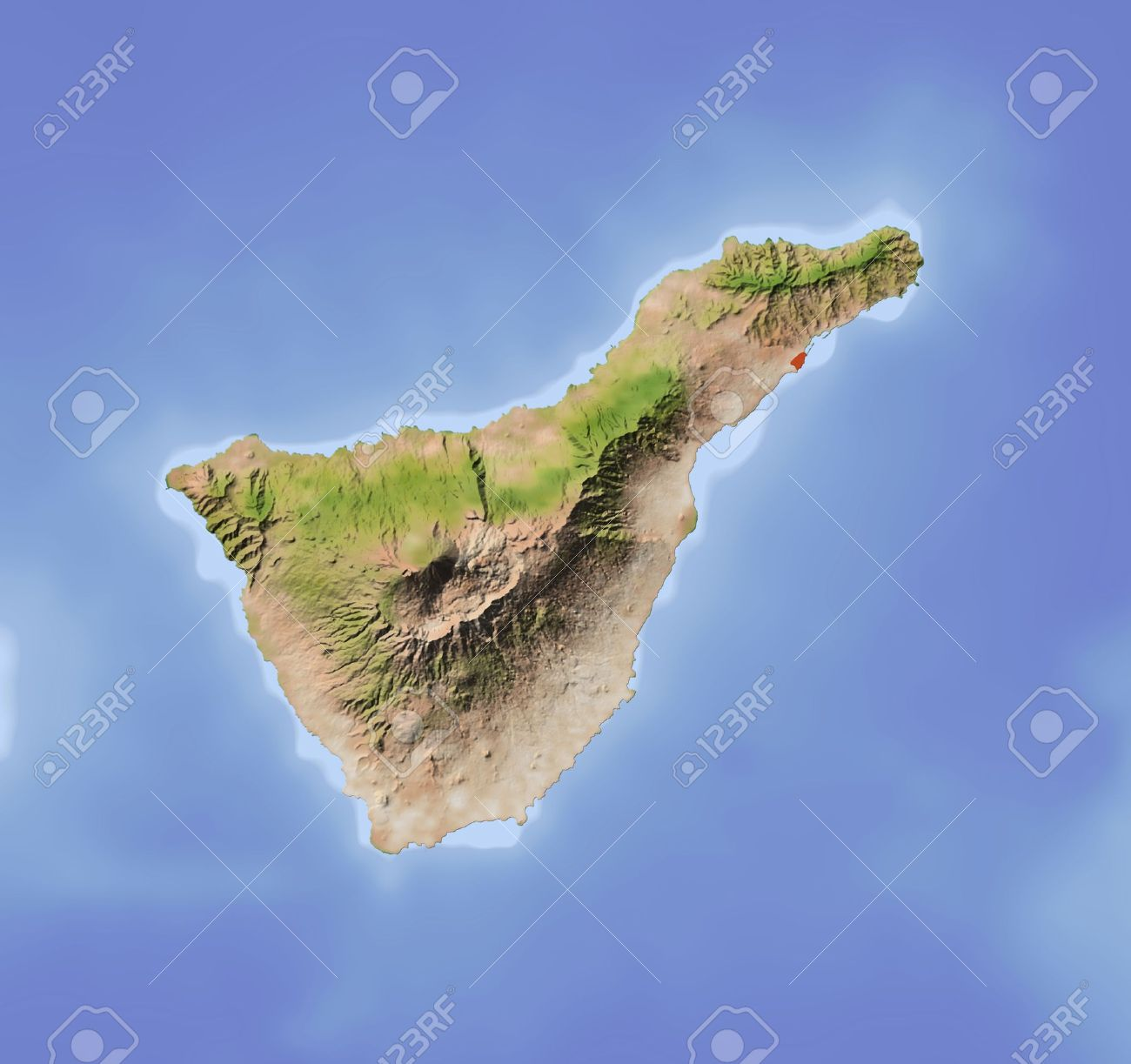 Tenerife. Shaded relief map. Colored according to vegetation. Includes clip path for the land area.Projection: MercatorExtents: -17.1/-15.9/27.8/28.8 - 11687615