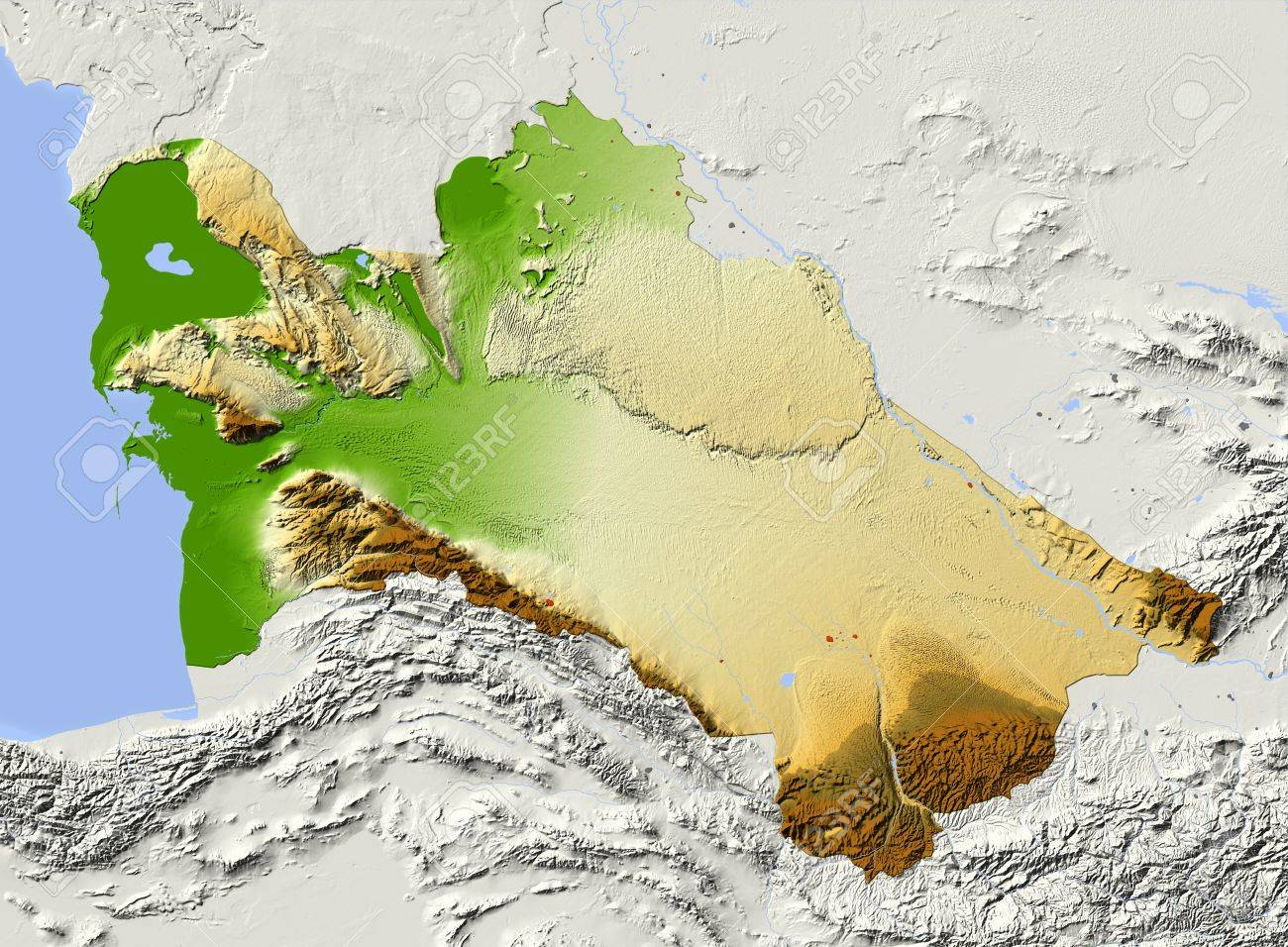 Turkmenistan Shaded Relief Map Colored According To Elevation
