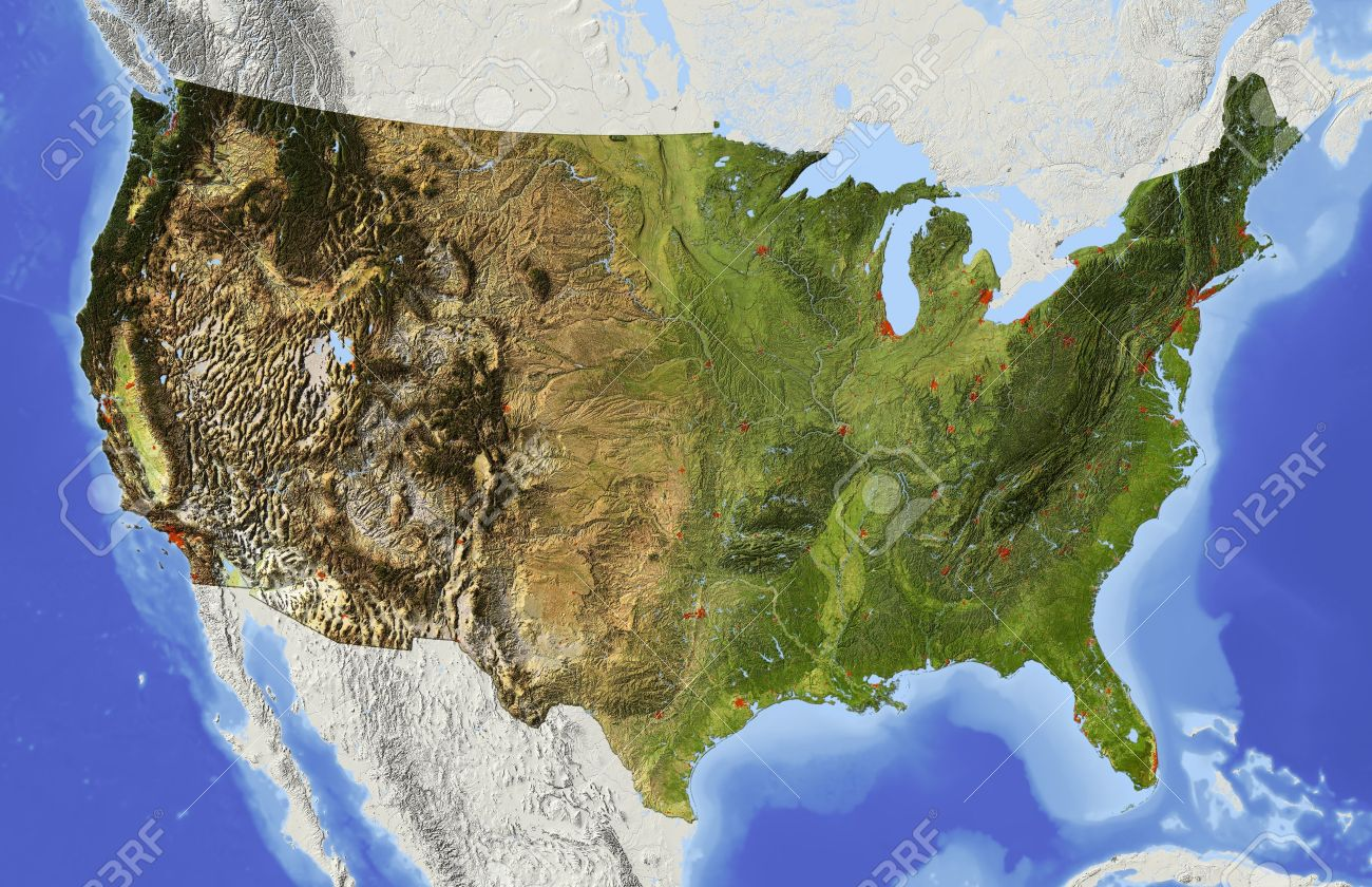 Relief Map Of Usa USA. Shaded Relief Map Of The Conterminous USA. Surrounding