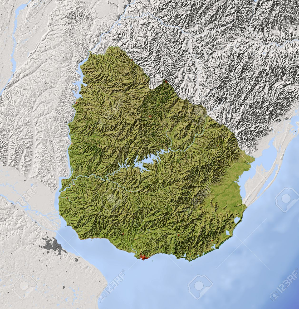 Uruguay Shaded Relief Map With Major Urban Areas Surrounding - Uruguay relief map