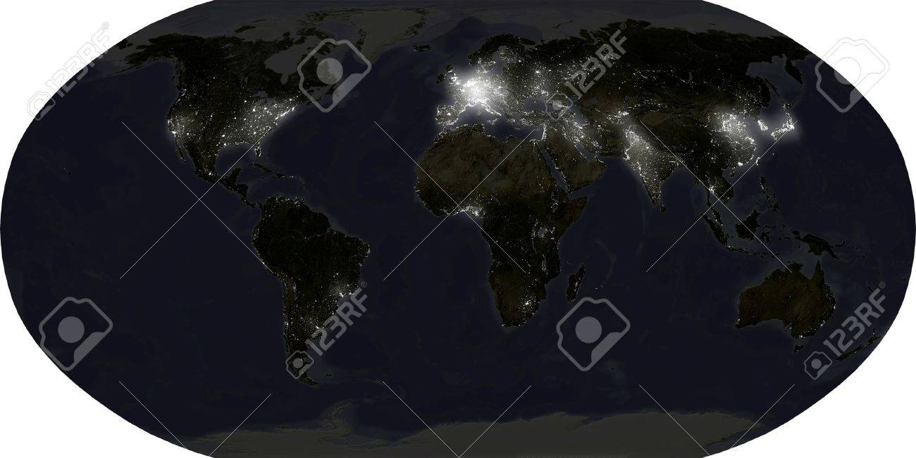 World map in robinson projection showing city lights at night stock photo world map in robinson projection showing city lights at night isolated on white with clipping pathdata source nasa gumiabroncs Images