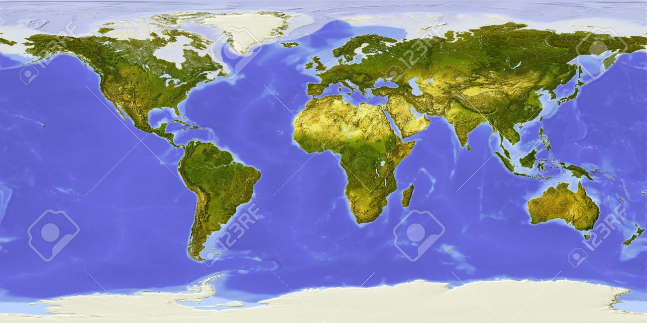 World Map Centered On Africa Shaded Relief Colored According
