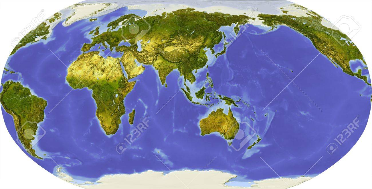Globe in Robinson projection, centered on Asia. Shaded relief colored according to dominant vegetation. Shows polar and pack ice, large urban areas. Isolated on white, with clipping path. Stock Photo - 11687730