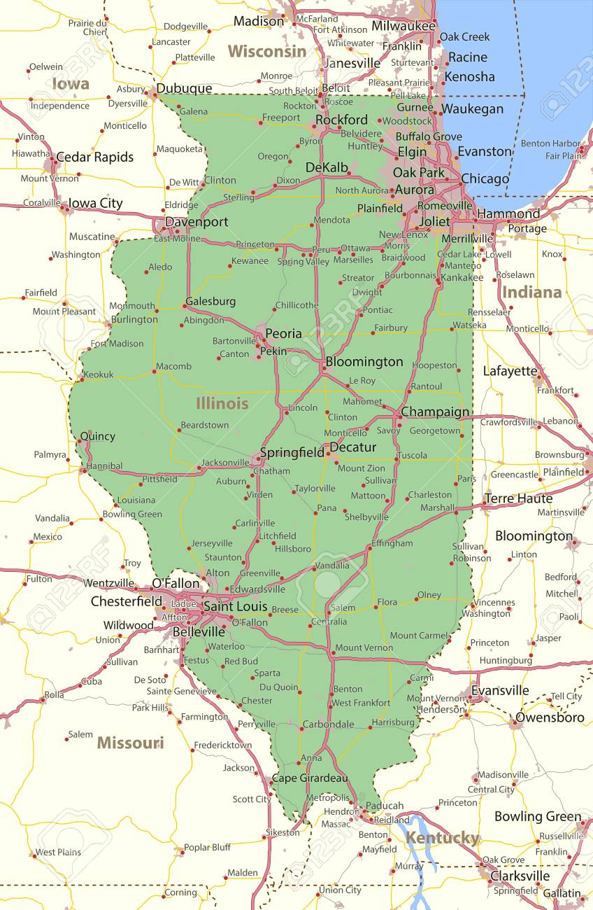 Map Of Illinois Shows State Borders Urban Areas Place Names