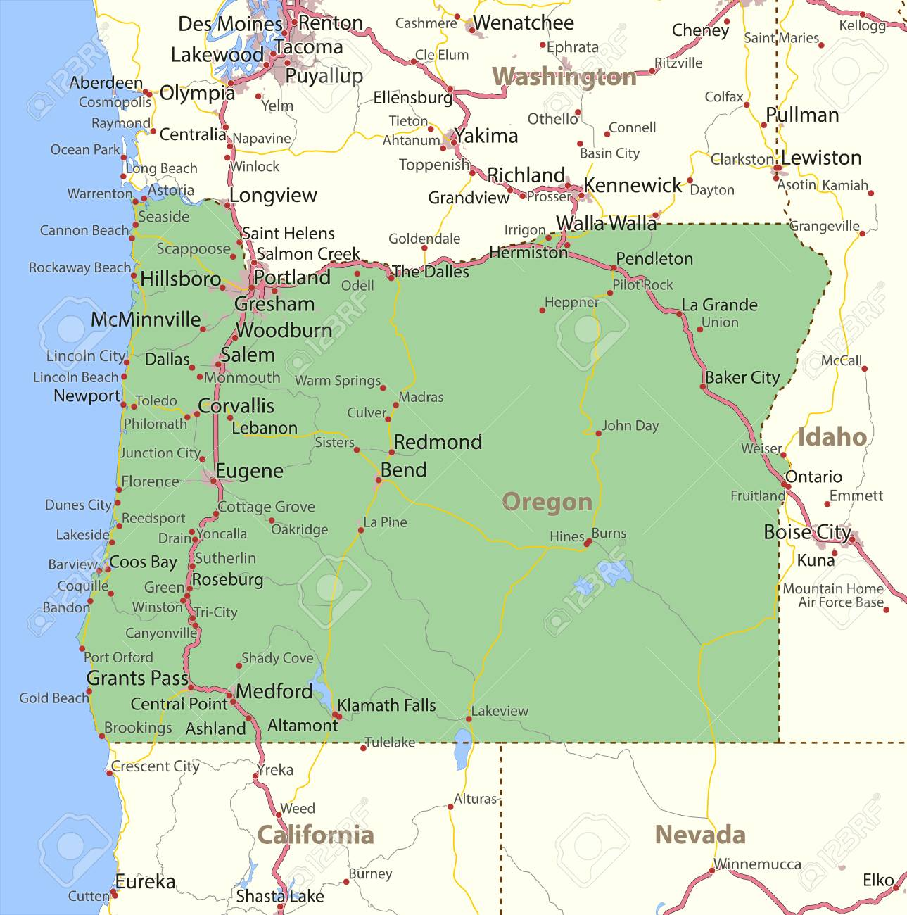 Irrigon Oregon Map.Map Of Oregon Shows State Borders Urban Areas Place Names