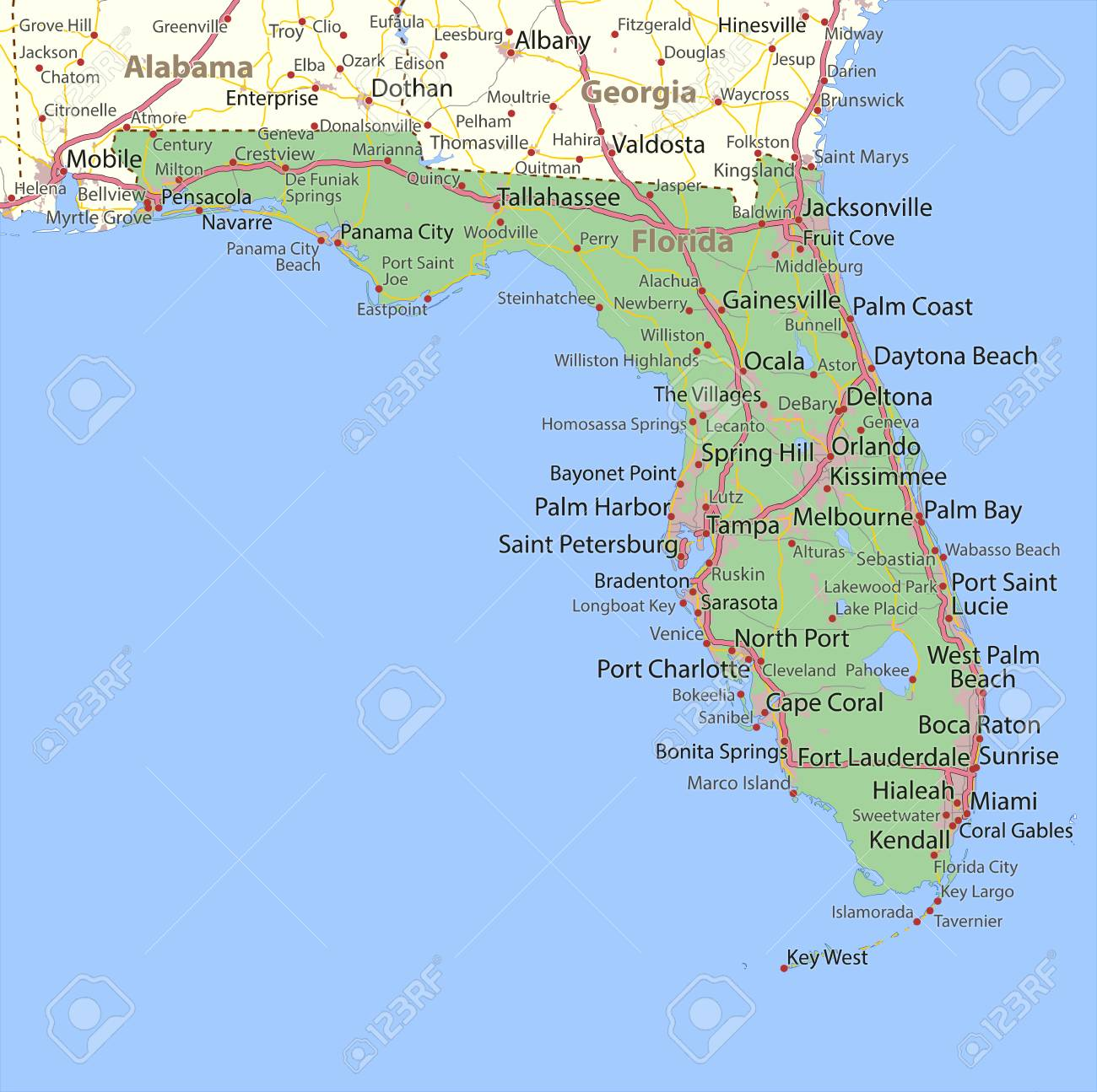 Map Florida City Names.Map Of Florida Shows State Borders Urban Areas Place Names