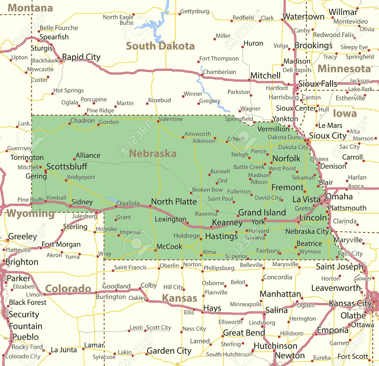 Free Nebraska Map.Map Of Nebraska Shows State Borders Urban Areas Place Names