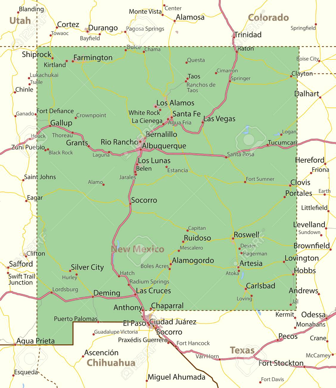 Jal New Mexico Map.Map Of New Mexico Shows State Borders Urban Areas Place Names