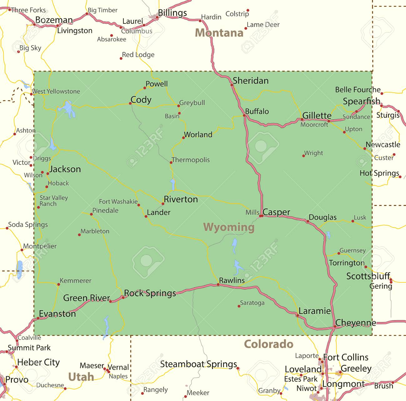 Map Of Wyoming. Shows State Borders, Urban Areas, Place Names ... City Map Of Wyoming on