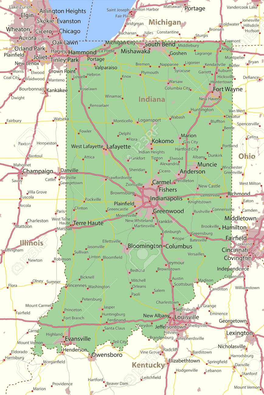 Map of Indiana. Shows state borders, urban areas, place names,.. Indiana Roads Map on indiana locality map, indiana water map, indiana street, southern indiana map, indiana map with exit numbers, indiana relief map, centerville indiana map, illinois map, northern indiana map, arcadia indiana map, indiana on us map, indiana atlas, hotels downtown indianapolis indiana map, indiana regions map, wabash indiana map, indiana sports map, indiana castles, indiana state map, indiana time map, united states map,