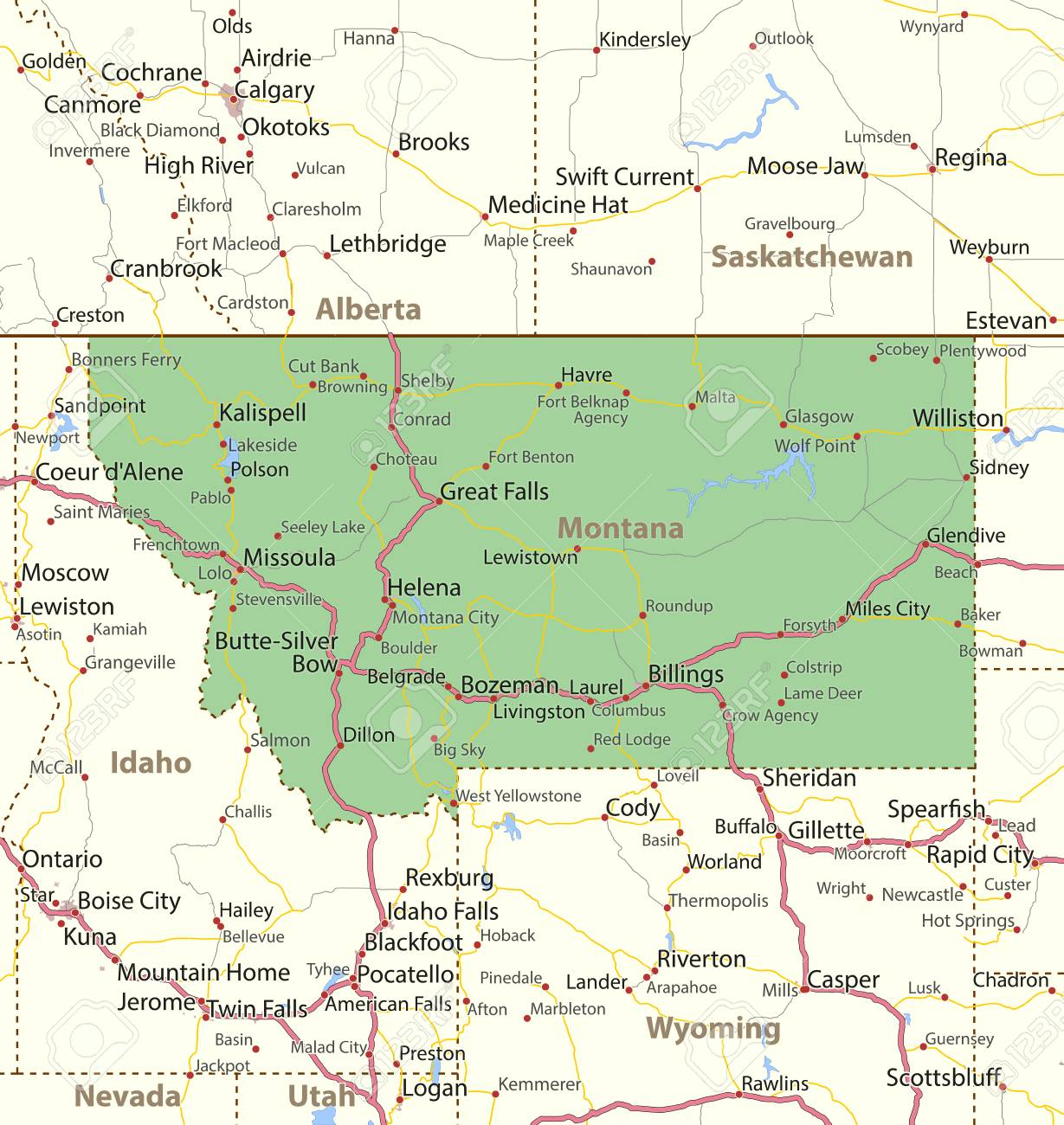 Map of Montana. Shows state borders, urban areas, place names,..